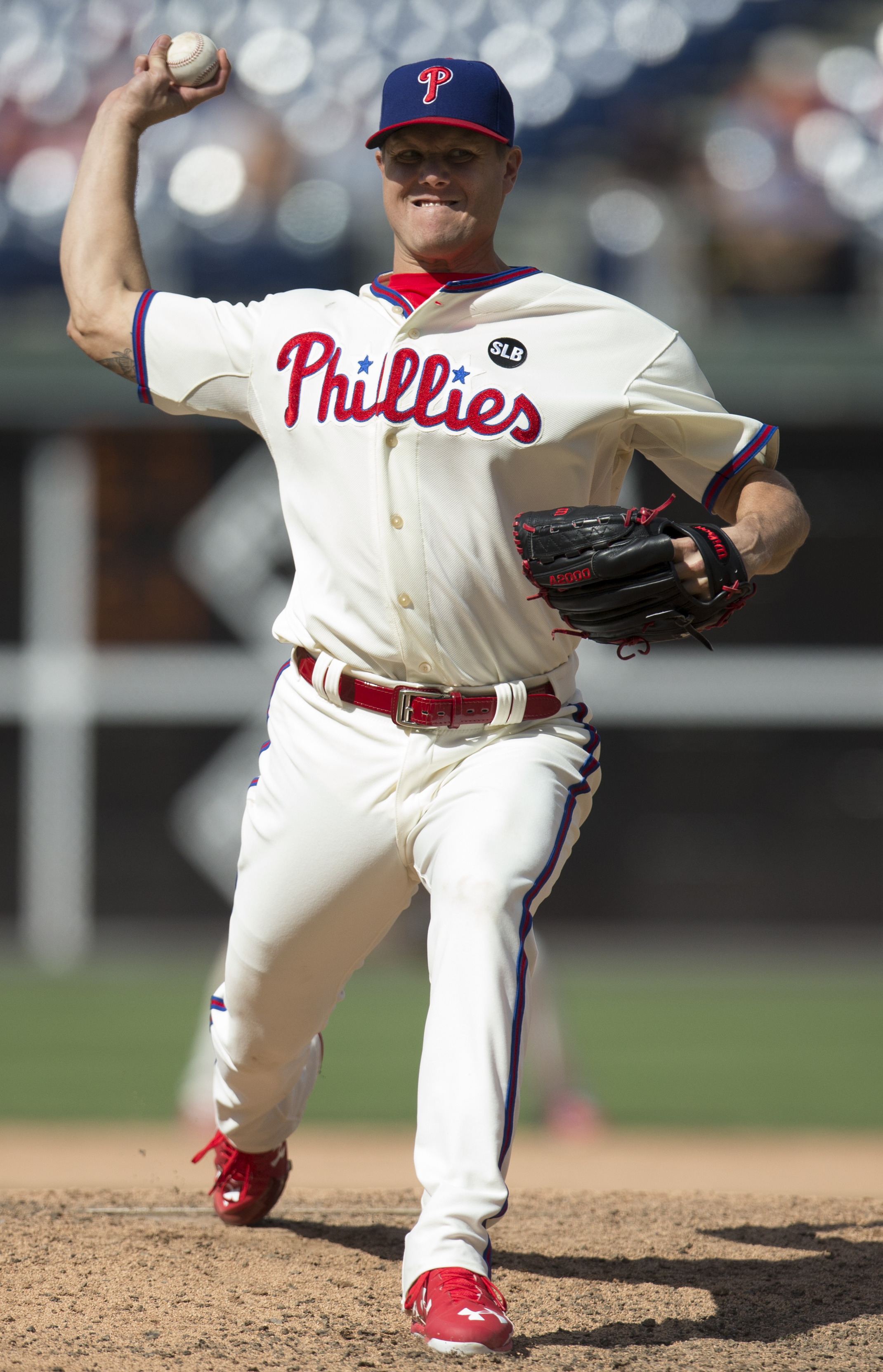 Philadelphia Phillies relief pitcher Jonathan Papelbon throws a pitch during the ninth inning of a baseball game against the Tampa Bay Rays, Wednesday, July 22, 2015, in Philadelphia. The Phillies won 5-4 in 10 innings. (AP Photo/Chris Szagola)