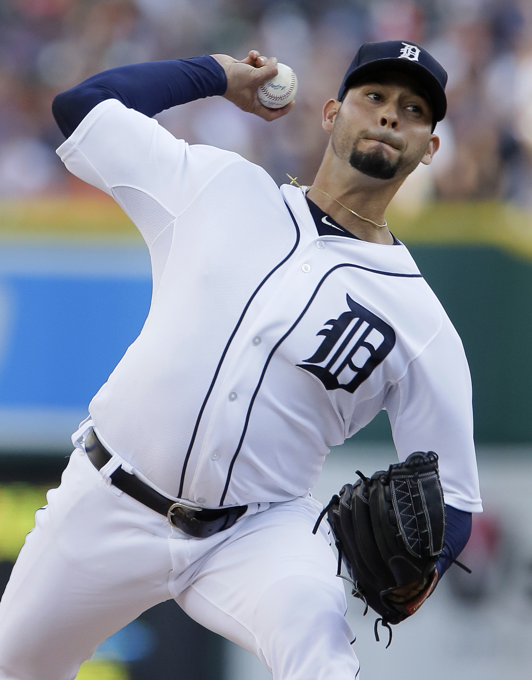 Detroit Tigers pitcher Anibal Sanchez delivers against the Seattle Mariners during the second inning of a baseball game Wednesday, July 22, 2015 in Detroit. (AP Photo/Duane Burleson)
