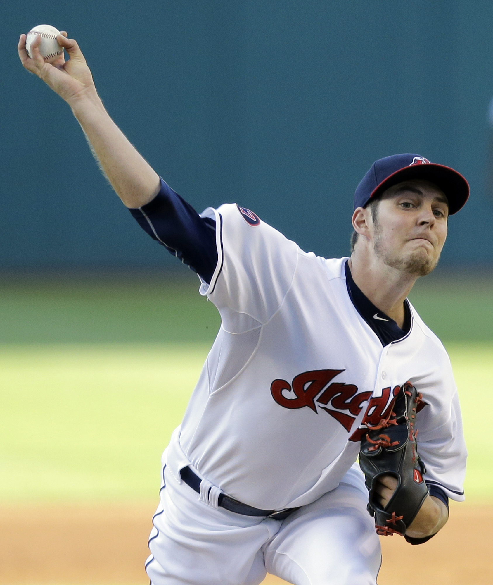 Cleveland Indians starting pitcher Trevor Bauer delivers in the first inning of a baseball game against the Chicago White Sox, Thursday, July 23, 2015, in Cleveland. (AP Photo/Tony Dejak)