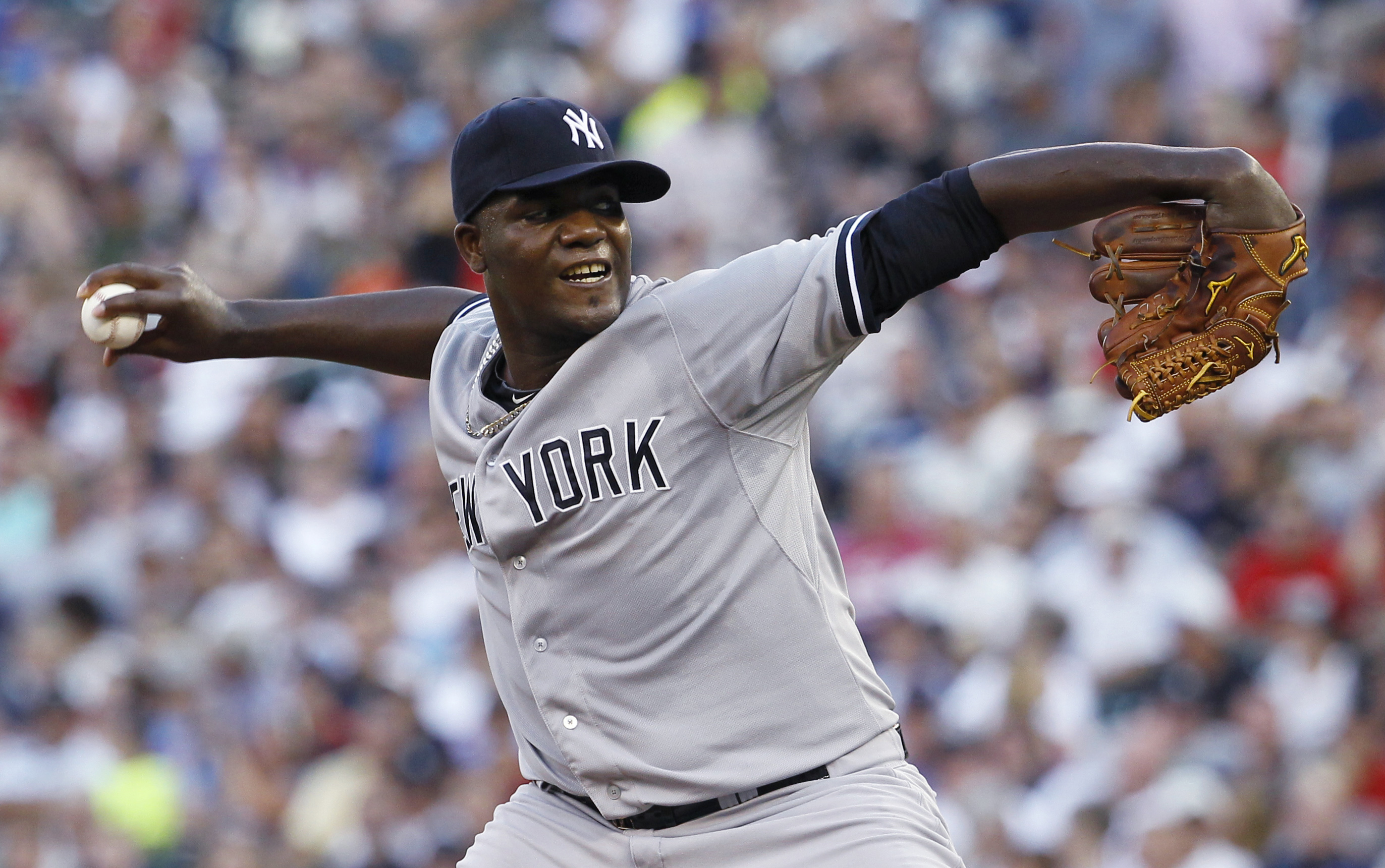 New York Yankees starting pitcher Michael Pineda delivers to the Minnesota Twins during the first inning of a baseball game in Minneapolis, Friday, July 24, 2015. (AP Photo/Ann Heisenfelt)