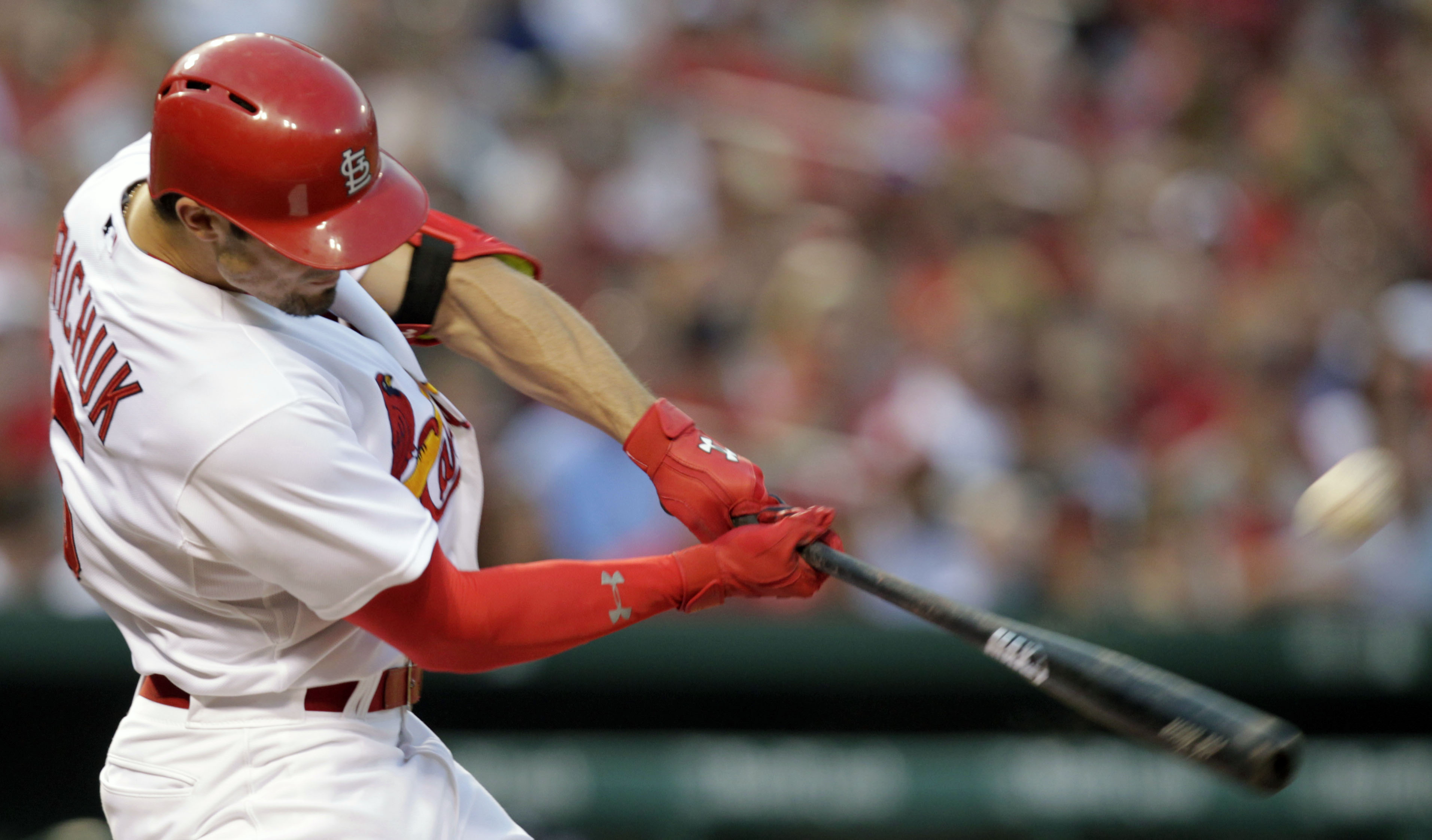 St. Louis Cardinals' Randal Grichuk connects for a two-run home run in the second inning of a baseball game against the Atlanta Braves, Friday, July 24, 2015 in St. Louis.(AP Photo/Tom Gannam)