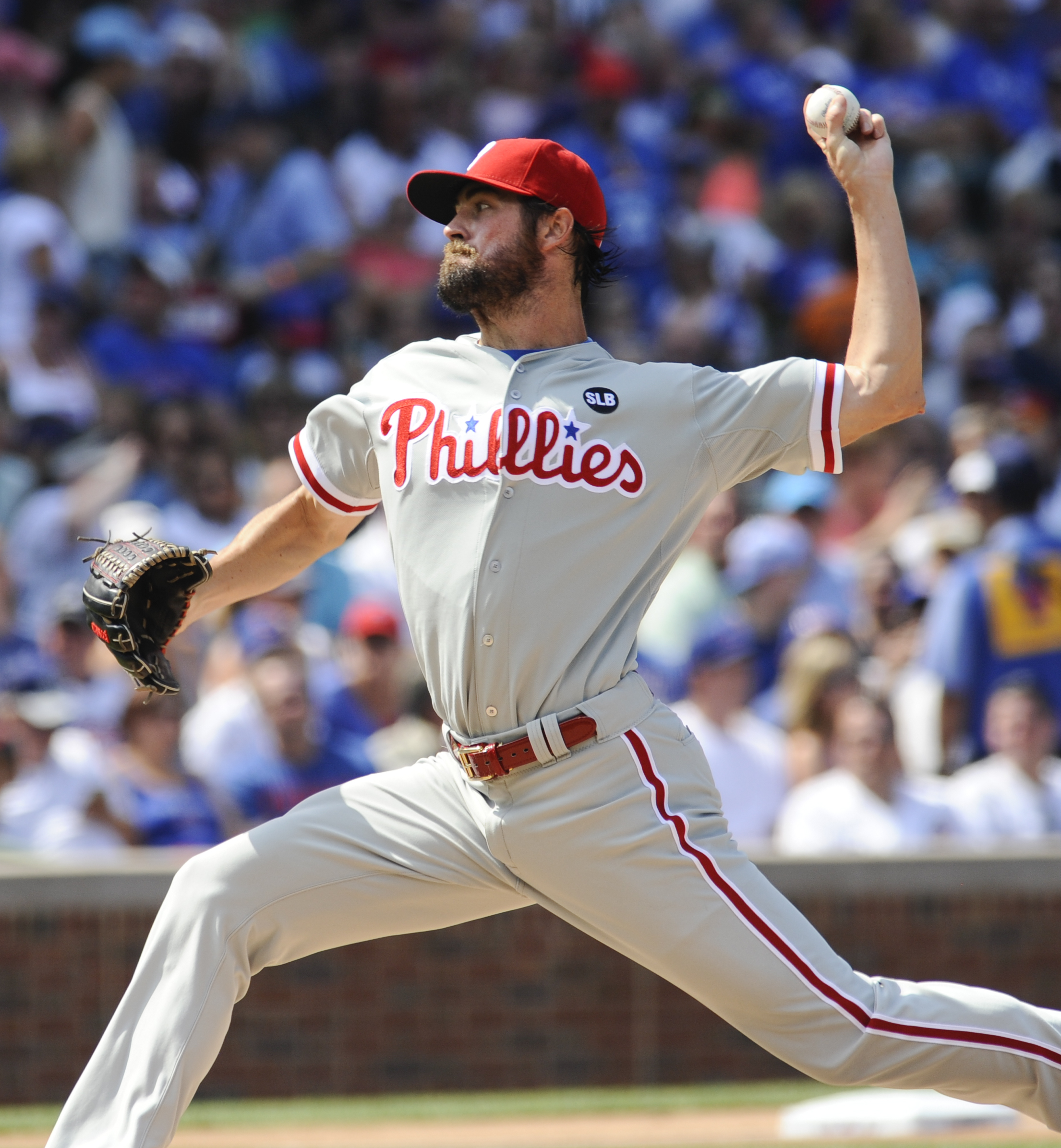 Philadelphia Phillies' starting pitcher Cole Hamels delivers during the first inning of baseball game against the Chicago Cubs in Chicago on Saturday, July 25, 2015. (AP Photo/Matt Marton)