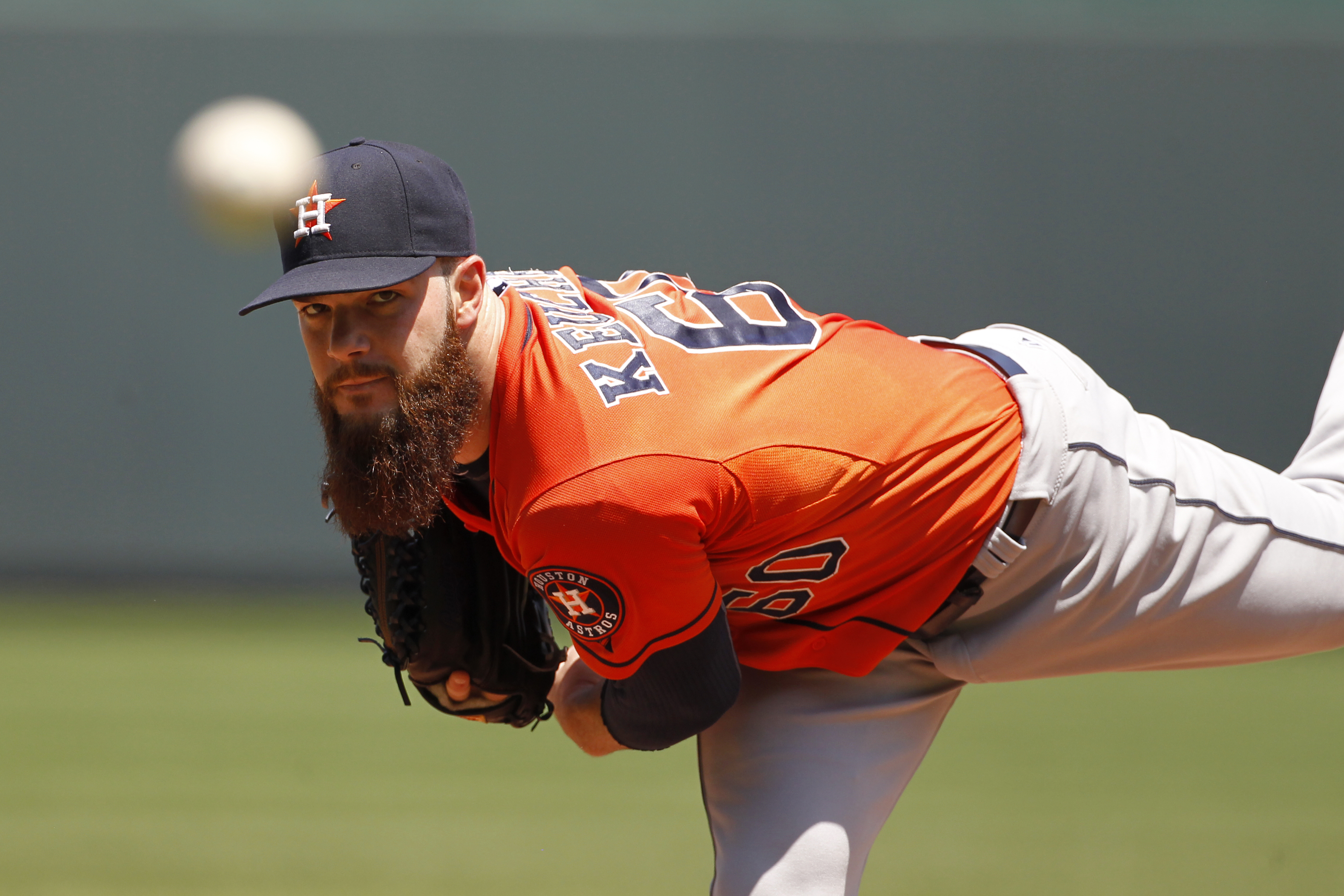 Houston Astros pitcher Dallas Keuchel warms up in the first inning of a baseball game against the Kansas City Royals in Kansas City, Mo., Friday, July 24, 2015. (AP Photo/Colin E. Braley)