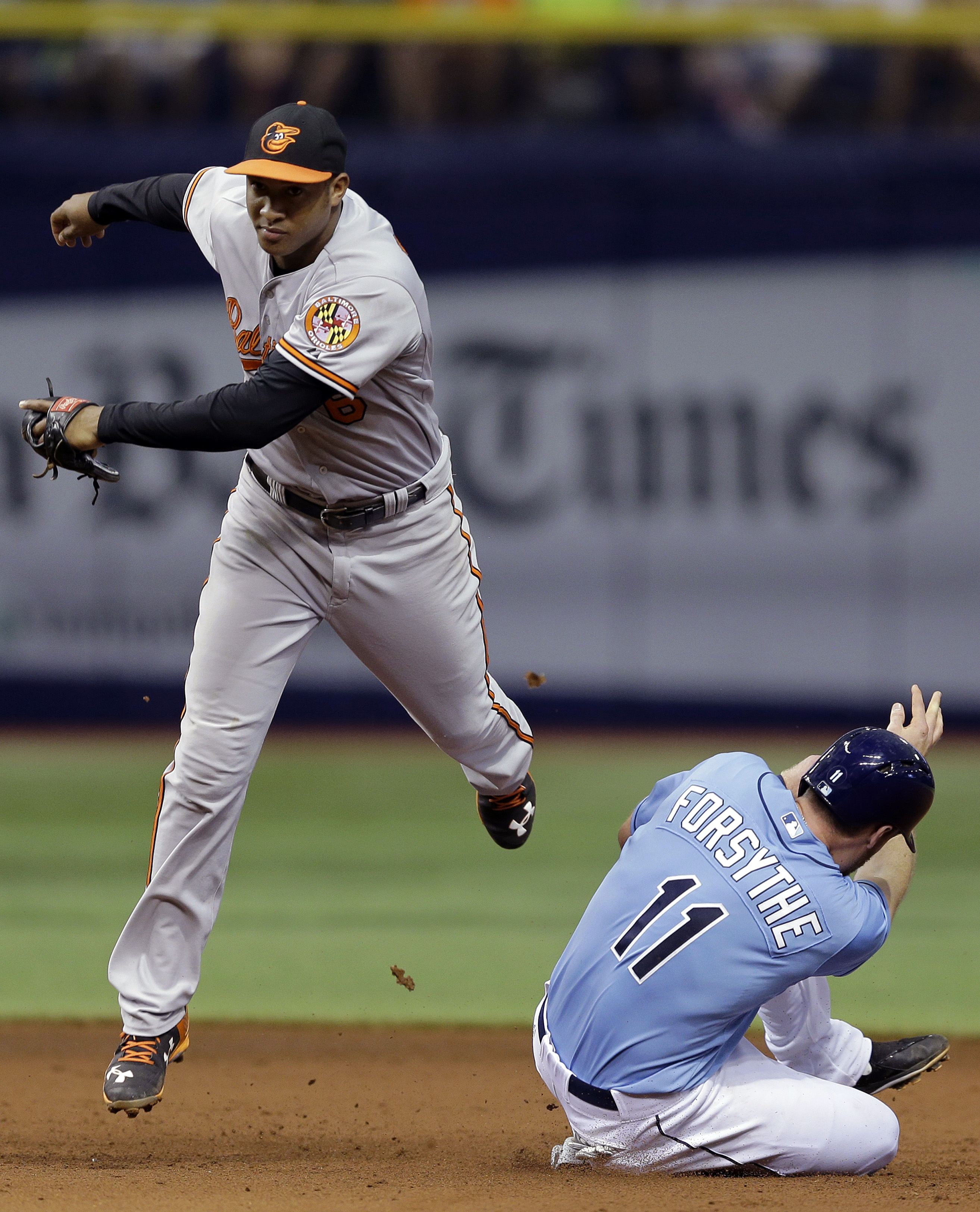 Baltimore Orioles second baseman Jonathan Schoop, left, forces out Tampa Bay Rays' Logan Forsythe, right, at second base on a fielder's choice by Joey Butler during the sixth inning of a baseball game Sunday, July 26, 2015, in St. Petersburg, Fla. (AP Pho