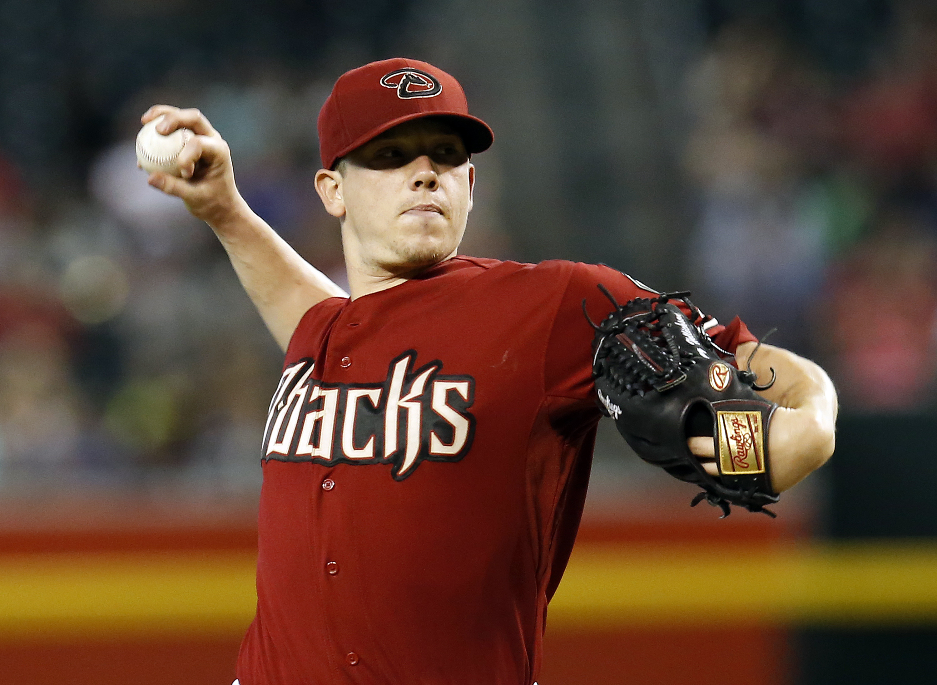 Arizona Diamondbacks pitcher Jeremy Hellickson throws in the first inning during a baseball game against the Milwaukee Brewers, Sunday, July 26, 2015, in Phoenix. (AP Photo/Rick Scuteri)