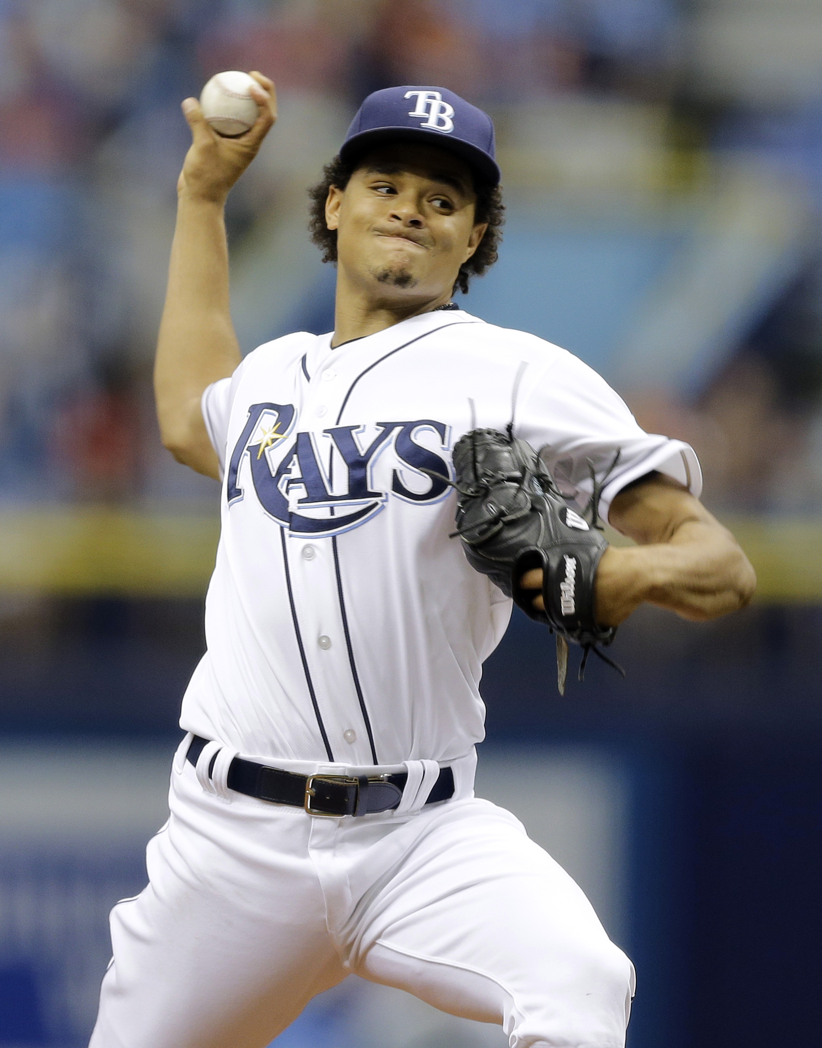 Tampa Bay Rays starting pitcher Chris Archer delivers to the Detroit Tigers during the first inning of a baseball game Wednesday, July 29, 2015, in St. Petersburg, Fla.  (AP Photo/Chris O'Meara)
