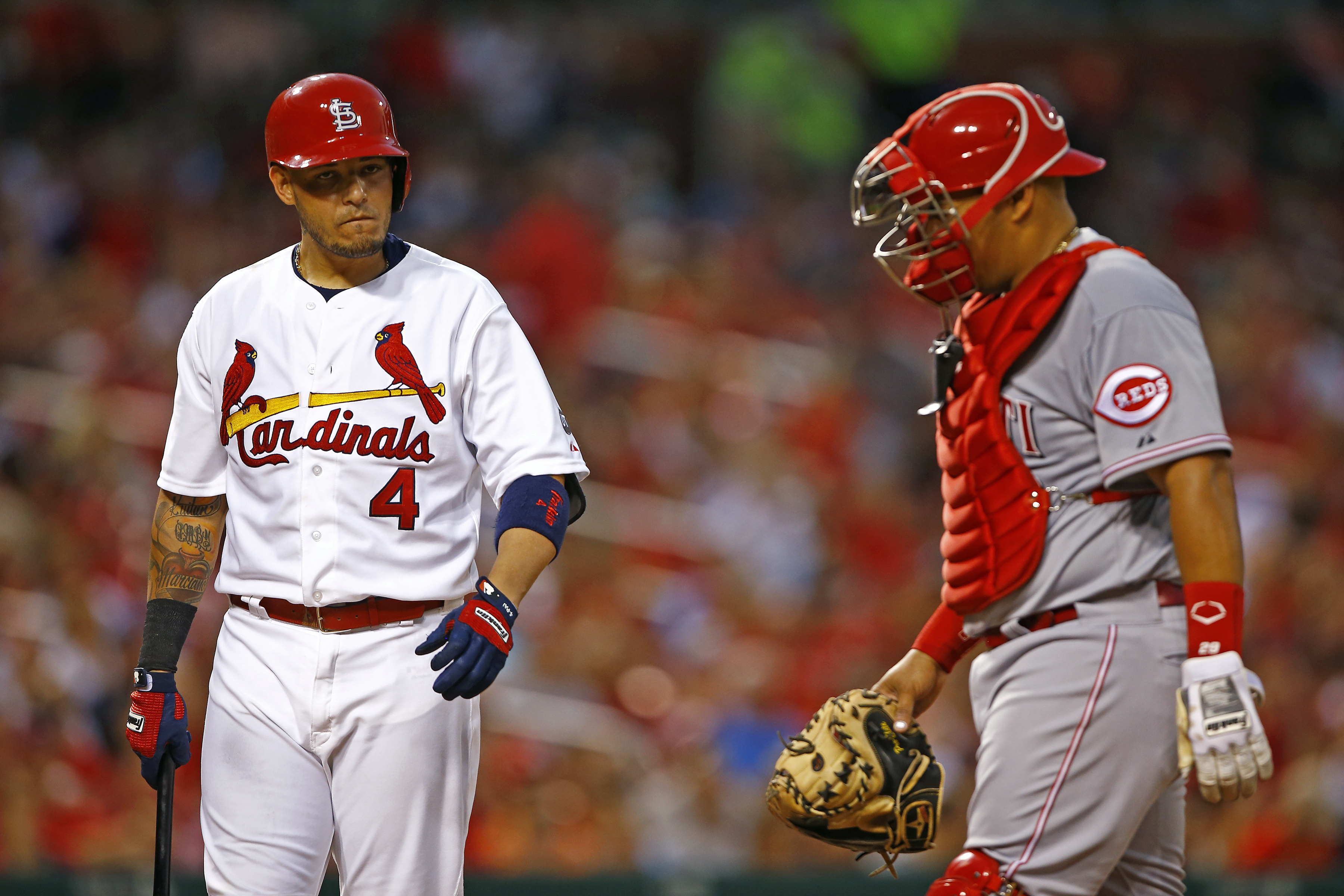 St. Louis Cardinals' Yadier Molina, left, looks on as Cincinnati Reds catcher Brayan Pena shakes off a stinger after being hit by Molina's bat during the fourth inning of a baseball game, Wednesday, July 29, 2015, in St. Louis. (AP Photo/Billy Hurst)