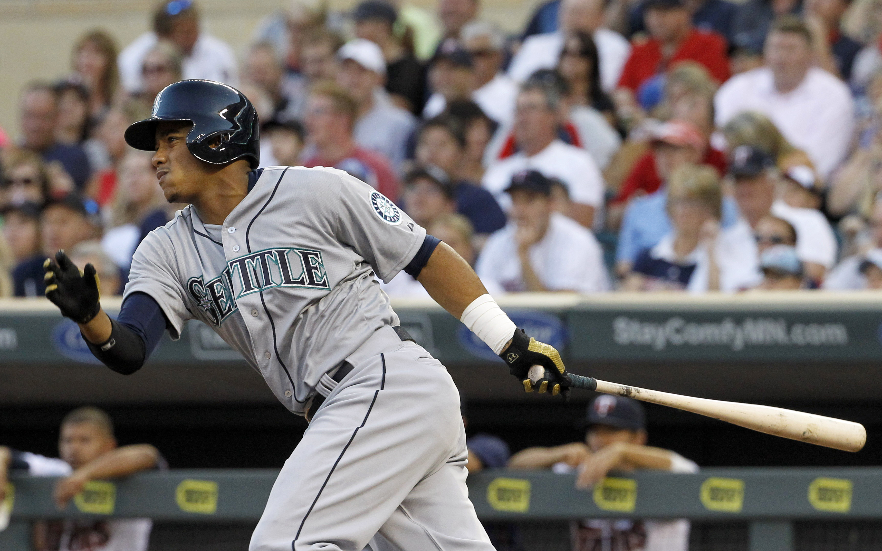 Seattle Mariners' Ketel Marte grounds out to Minnesota Twins shortstop Jorge Polanco during the fourth inning of a baseball game in Minneapolis, Friday, July 31, 2015. The Mariners won 6-1. (AP Photo/Ann Heisenfelt)