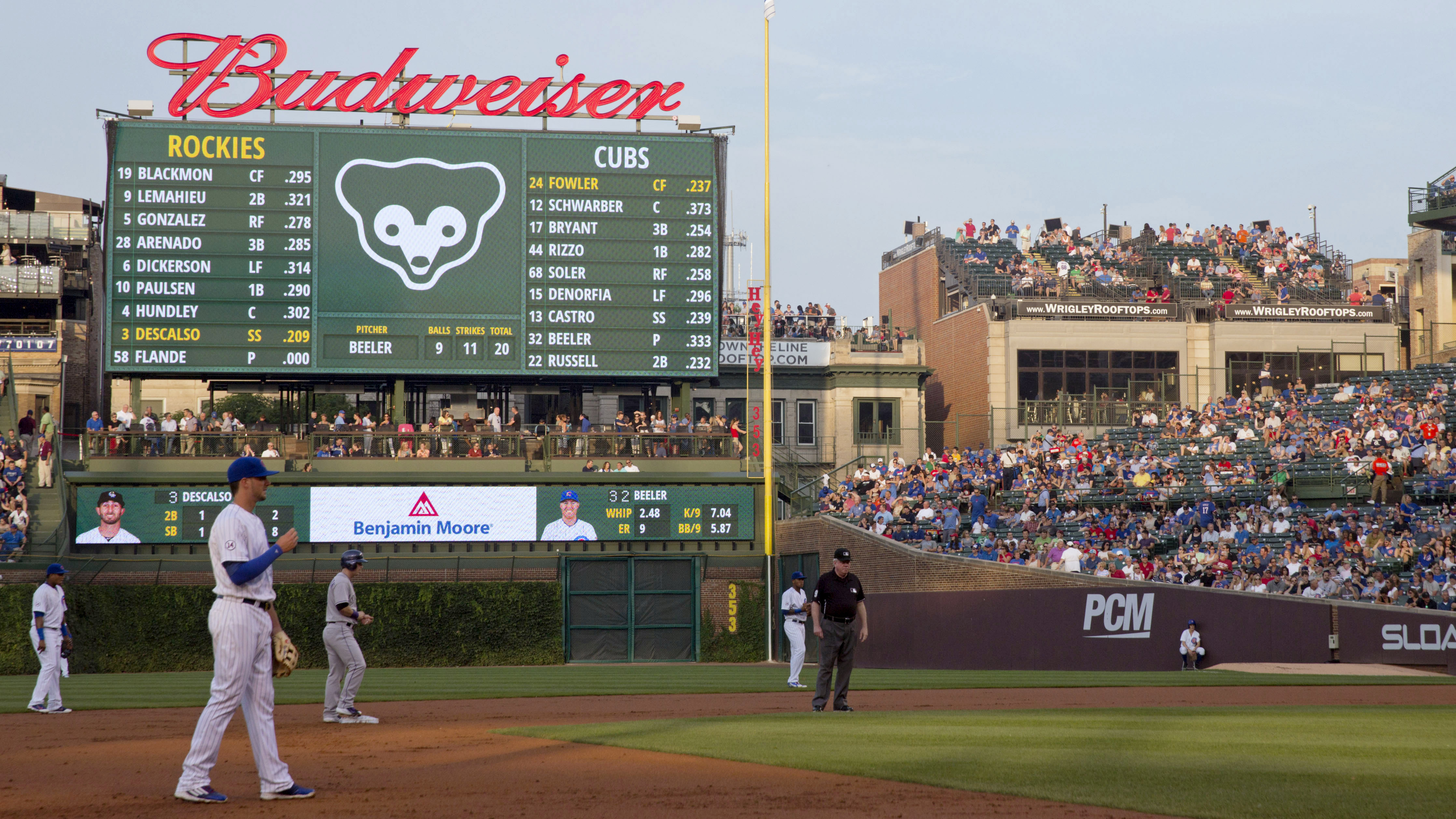In this July 28, 2015 photo, fans at a Wrigley Rooftops' building down the right-field line outside Wrigley Field watch players during the first inning of a baseball game between the Colorado Rockies and Chicago Cubs in Chicago. A $575 million transformat