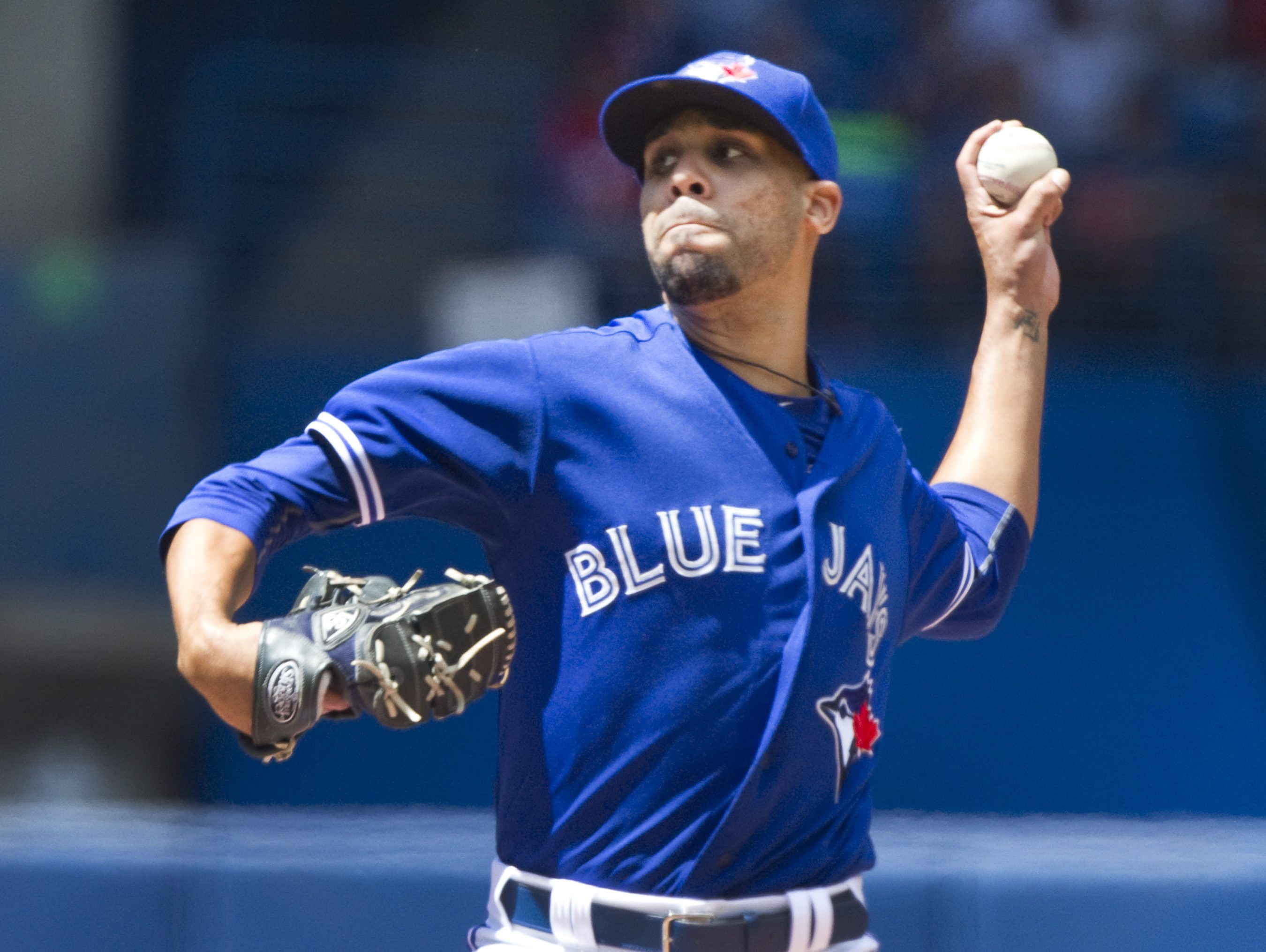 Toronto Blue Jays starting pitcher David Price throws against the Minnesota Twins during the second inning of a baseball game in Toronto on Monday, Aug.  3, 2015. (Fred Thornhill/The Canadian Press via AP)