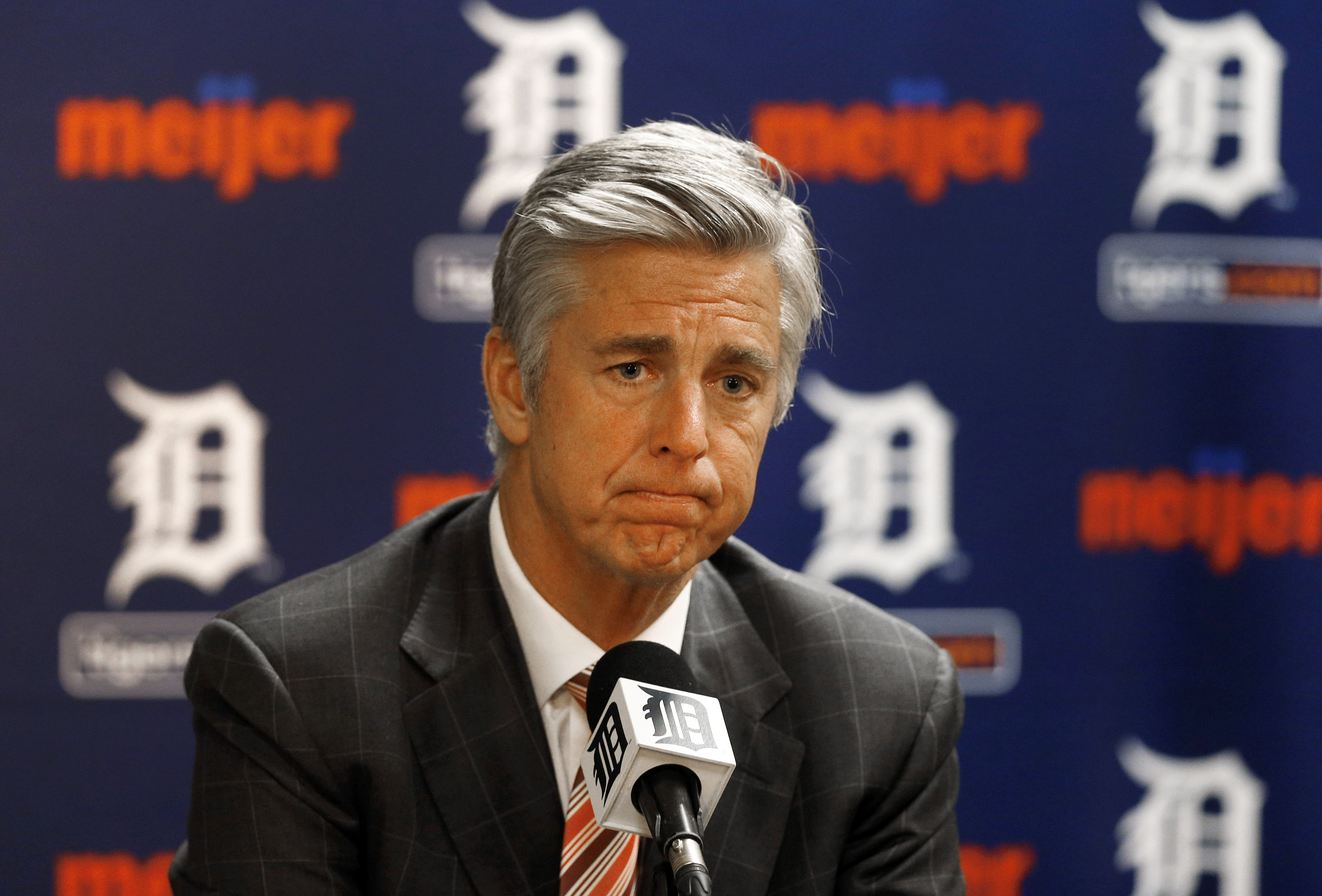 FILE - In this Oct. 14, 2014, file photo, Detroit Tigers general manager Dave Dombrowski speaks to the media during a baseball news conference in Detroit. The Tigers announced, Tuesday, Aug. 4, 2015, that assistant general manager Al Avila has been promot