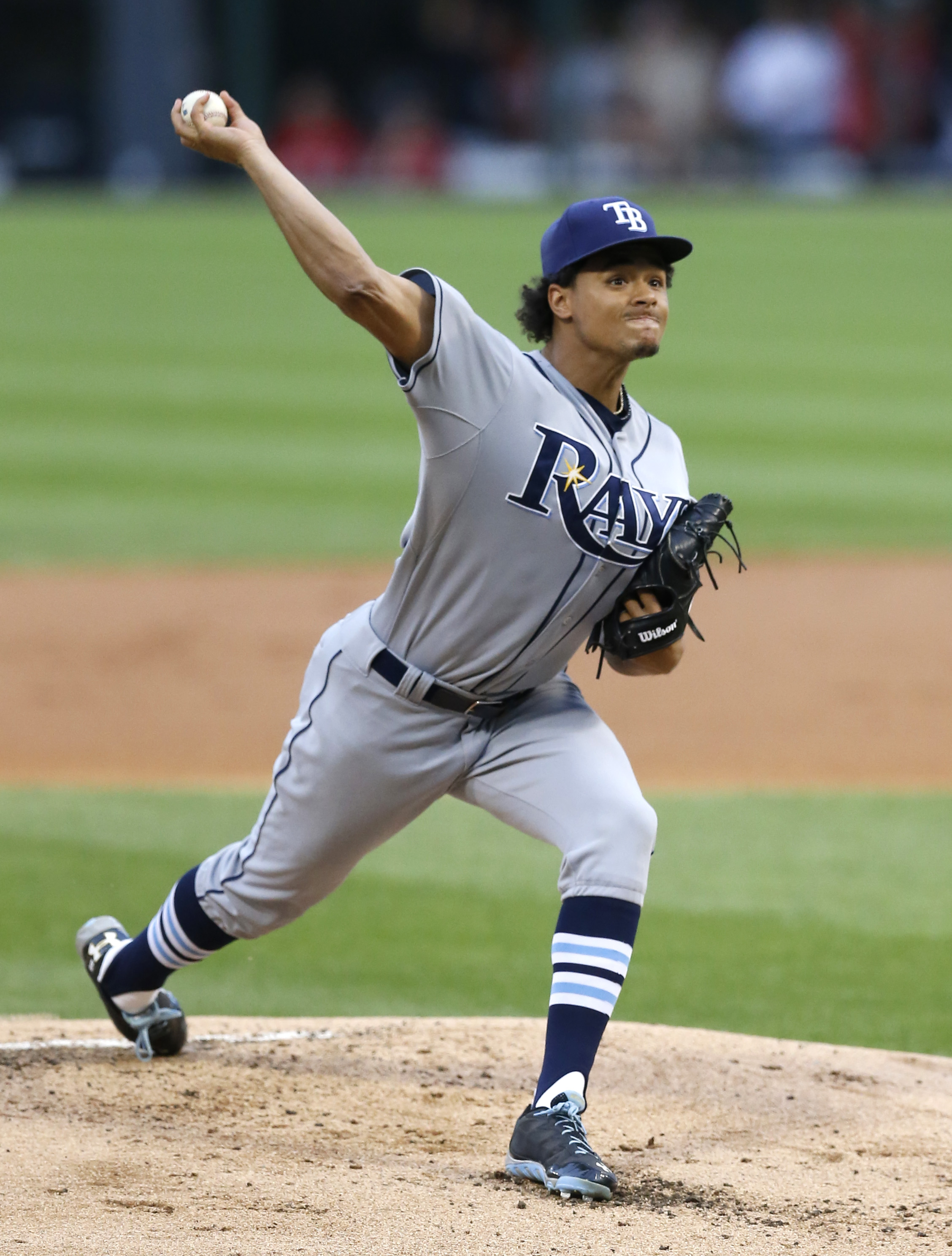 Tampa Bay Rays starting pitcher Chris Archer delivers during the first inning of a baseball game against the Chicago White Sox Tuesday, Aug. 4, 2015, in Chicago. (AP Photo/Charles Rex Arbogast)