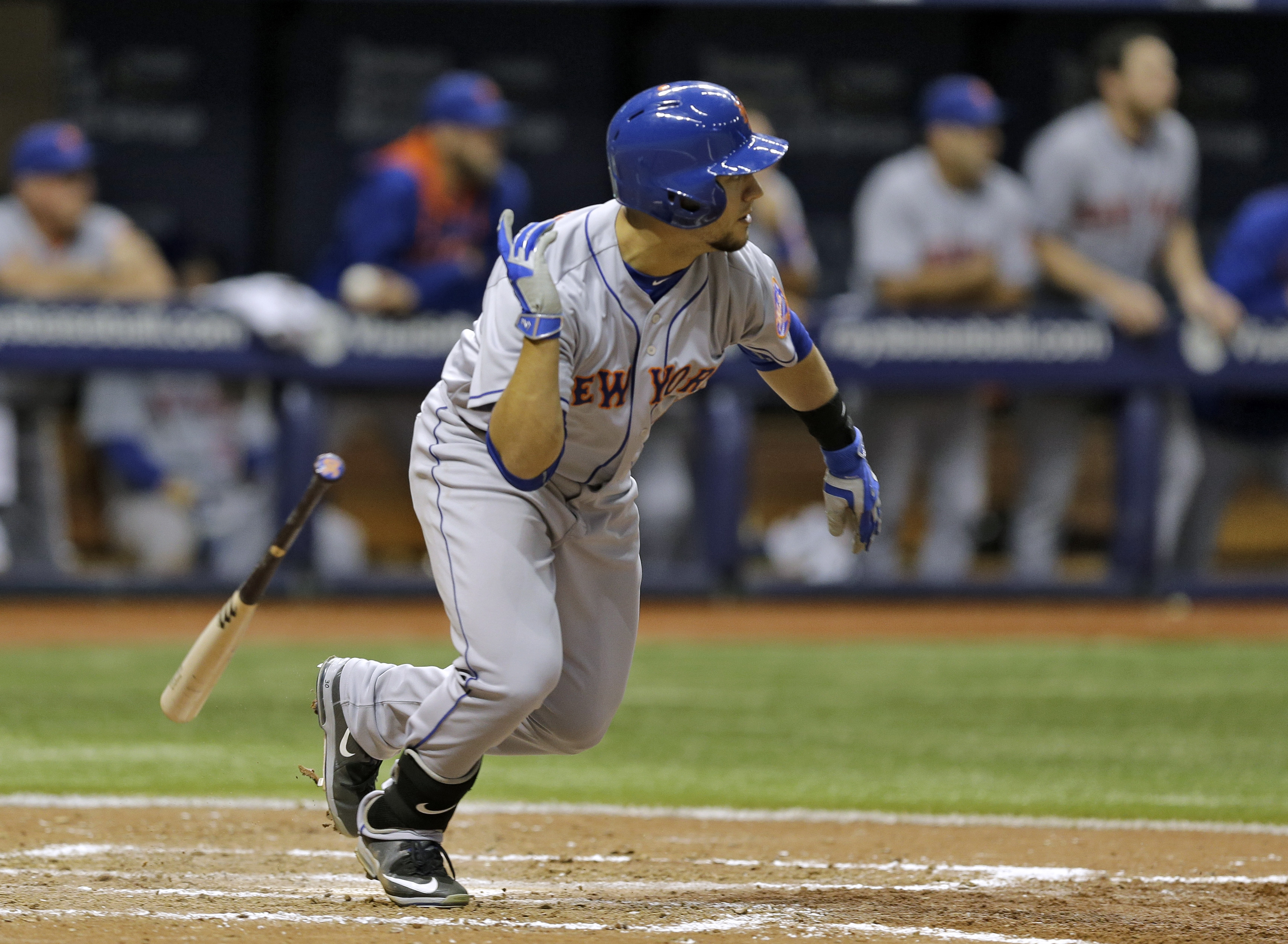 New York Mets' Michael Conforto hits an RBI-double off Tampa Bay Rays relief pitcher Brad Boxberger during the ninth inning of an interleague baseball game Friday, Aug. 7, 2015, in St. Petersburg, Fla. Mets' Lucas Duda scored on the hit. (AP Photo/Chris O