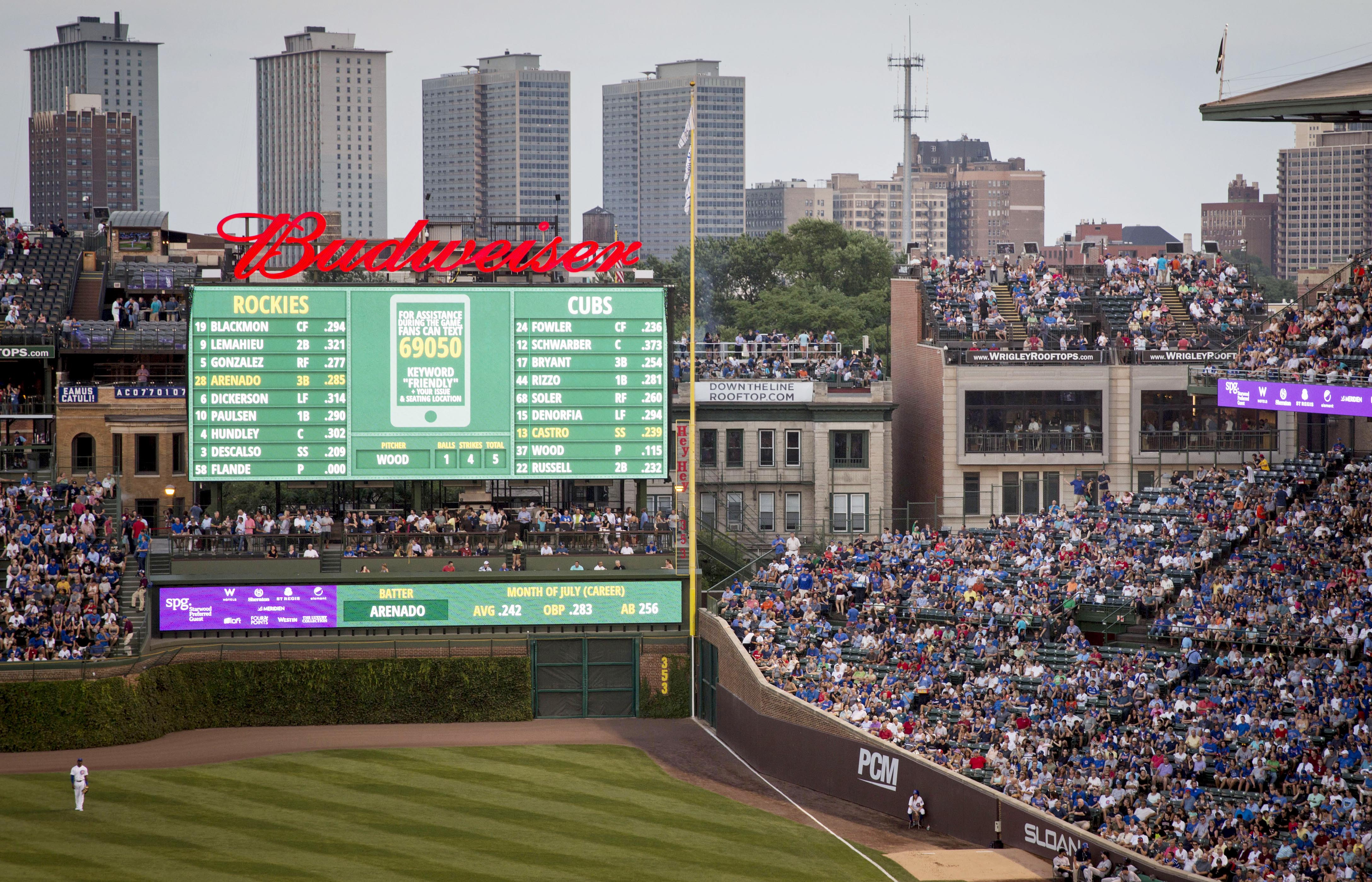 In this July 28, 2015 photo, fans at a Wrigley Rooftops' building and other rooftop venues down the right-field line outside Wrigley Field watch players during the second inning of a baseball game between the Colorado Rockies and Chicago Cubs in Chicago