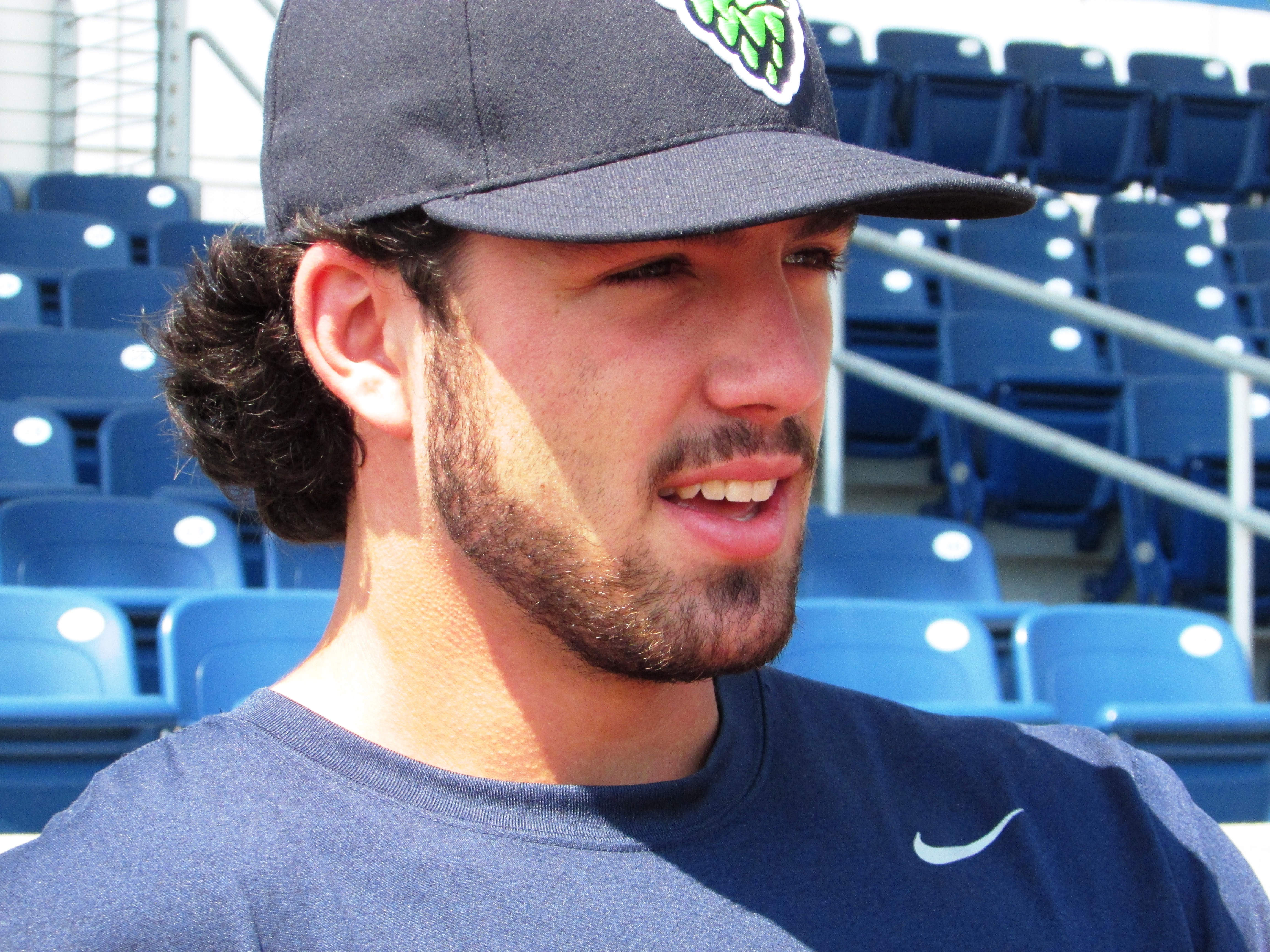 Dansby Swanson, the top pick in this year's baseball draft by the Arizona Diamondbacks, speaks before a game in Hillsboro, Ore., Thursday, Aug. 13, 2015. Swanson is playing for Arizona's affiliate, the Hillsboro Hops, after recovering from taking a pitch