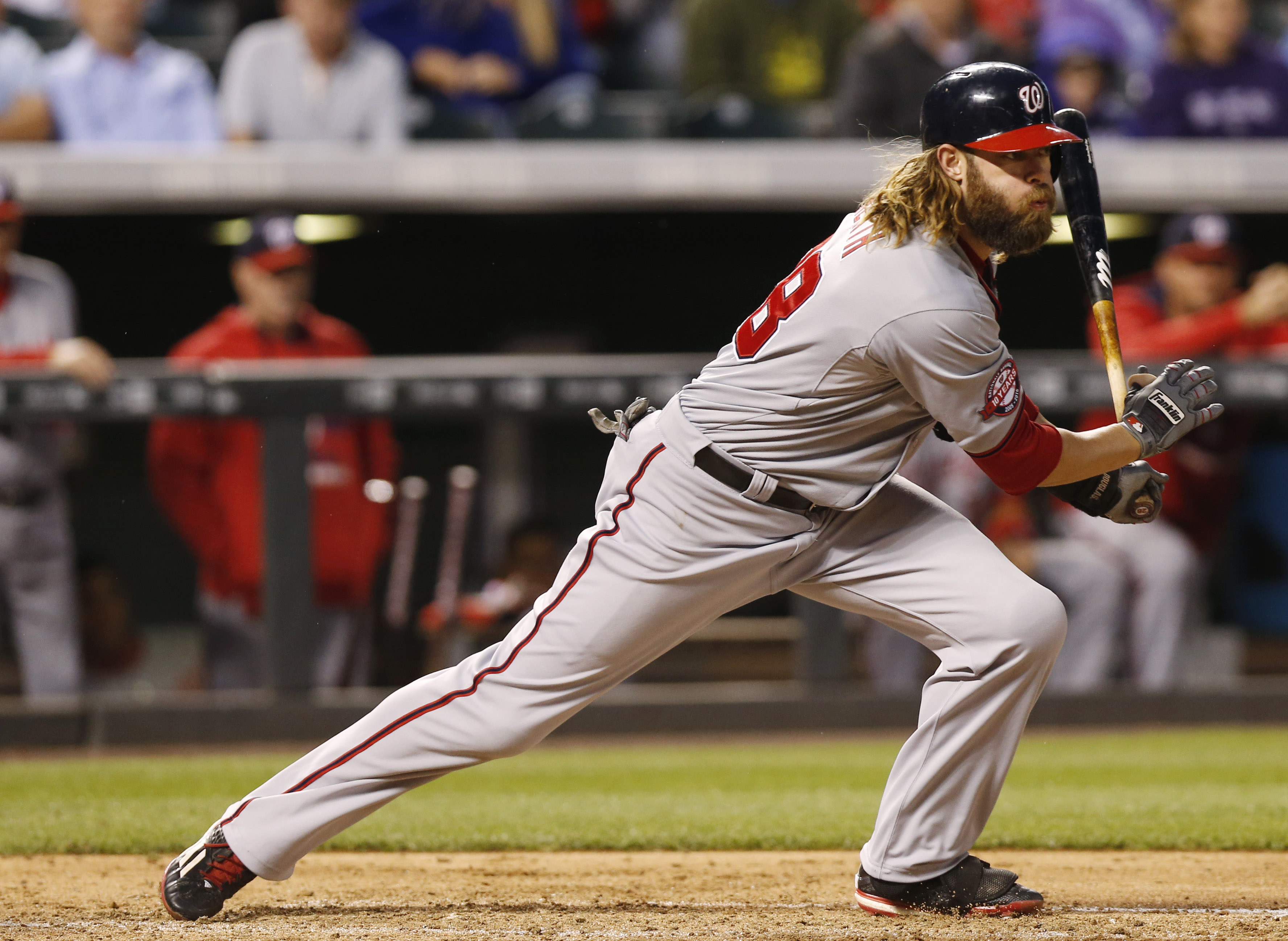 Washington Nationals' Jayson Werth singles off Colorado Rockies starting pitcher David Hale duirng the fourth inning of a baseball game Tuesday, Aug. 18, 2015, in Denver. (AP Photo/David Zalubowski)
