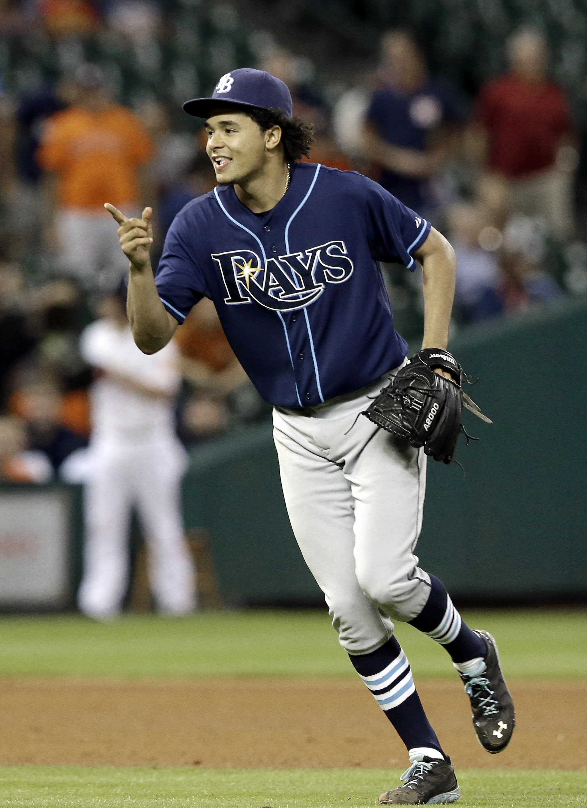 Tampa Bay Rays' Chris Archer celebrates his one-hit complete baseball game to beat the the Houston Astros 1-0, Thursday, Aug. 20, 2015, in Houston. (AP Photo/Pat Sullivan)