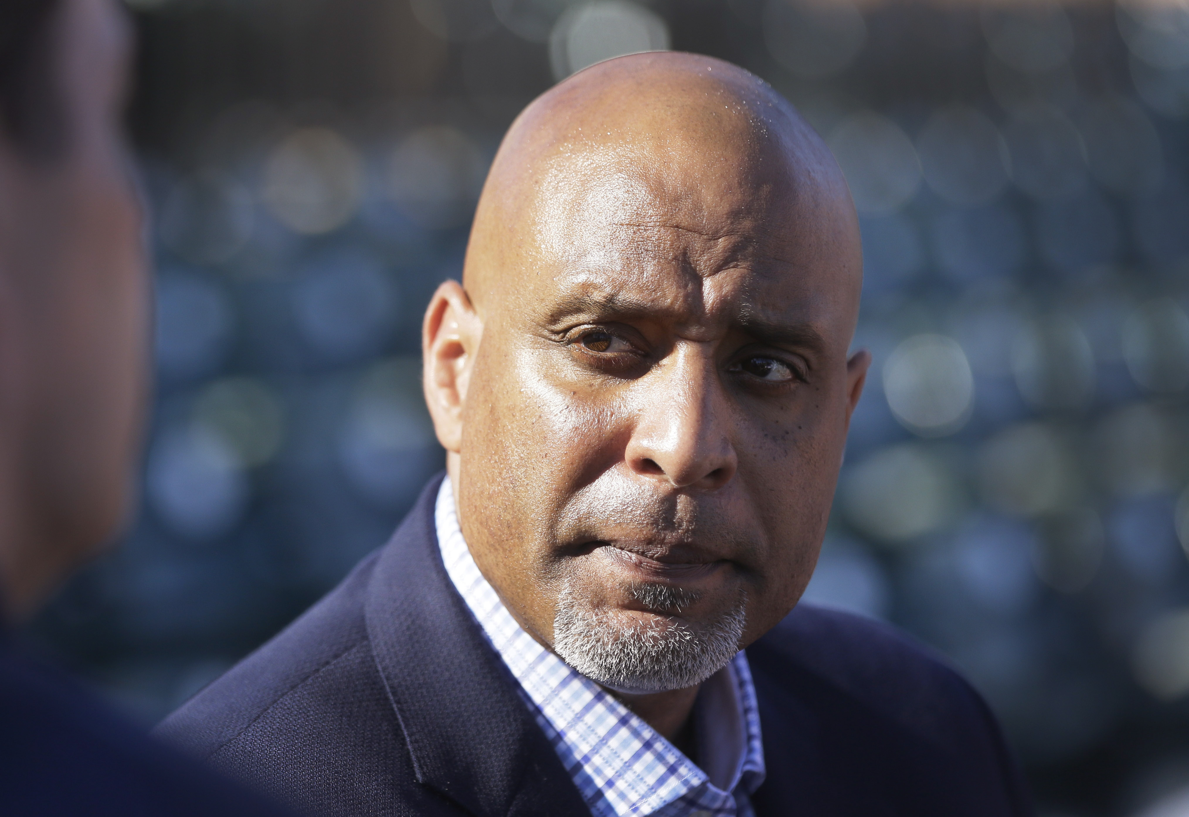 FILE - In this March 17, 2015, file photo, Tony Clark, executive director of the baseball players' union, talks to reporters before a spring training baseball game between the Detroit Tigers and the Washington Nationals in Lakeland, Fla. Major League Base