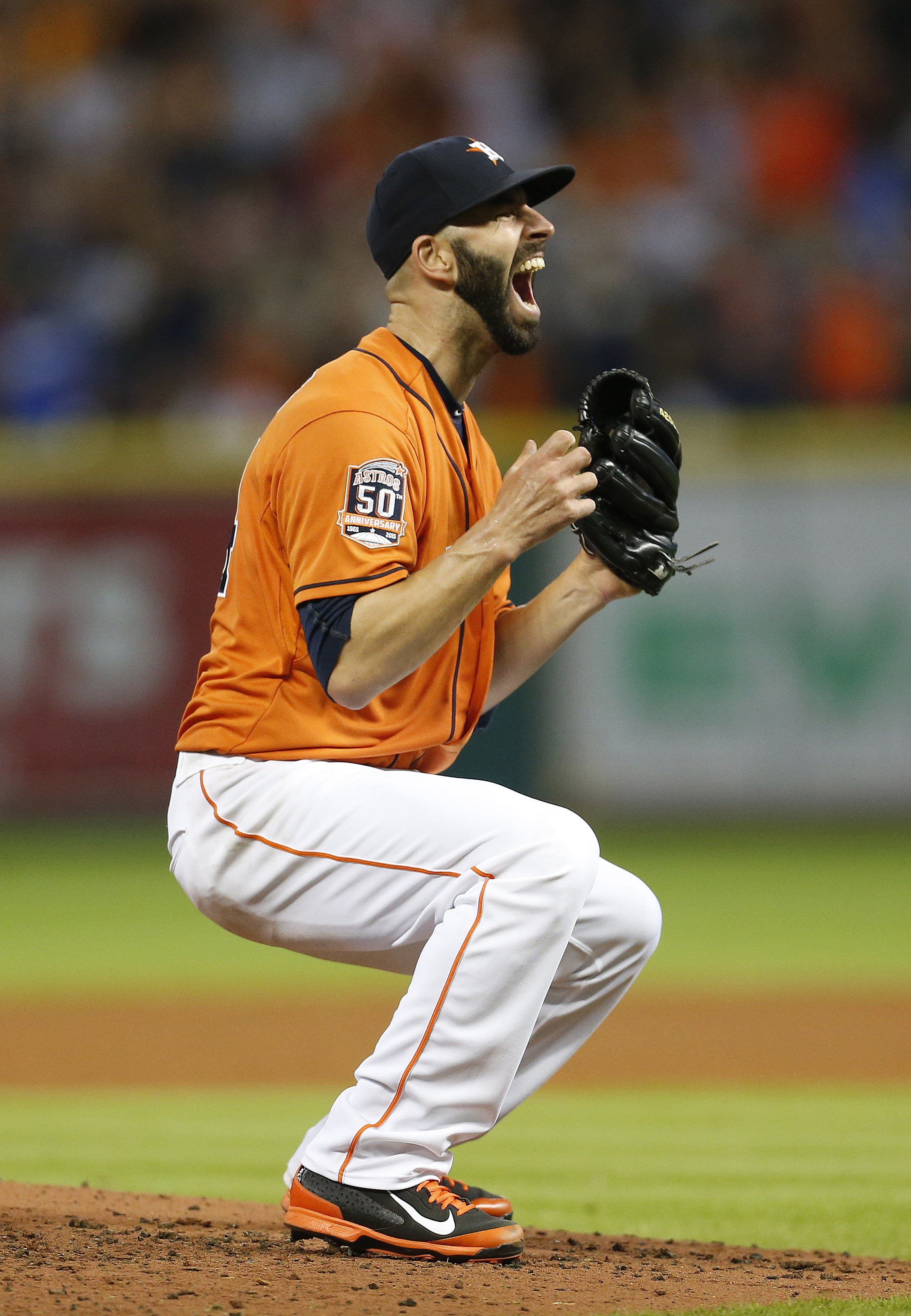 Houston Astros starting pitcher Mike Fiers celebrates his no-hitter in a baseball game against the Los Angeles Dodgers, Friday, Aug. 21, 2015, in Houston. The Astros won 3-0. (Karen Warren/Houston Chronicle via AP)