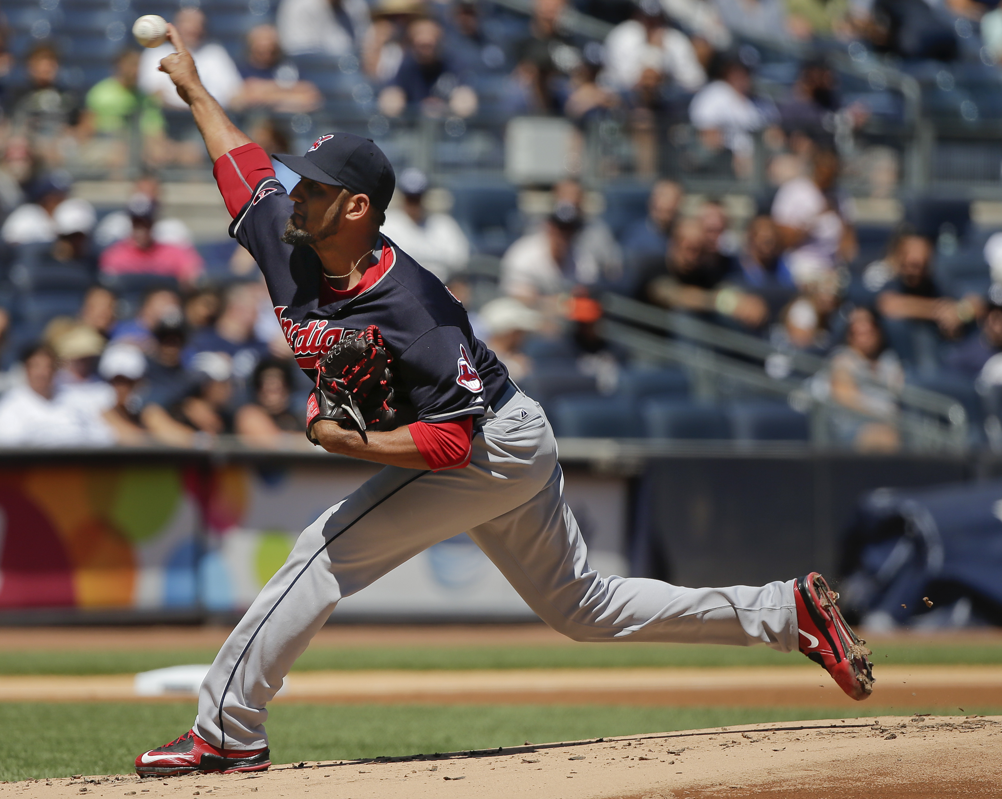 Cleveland Indians pitcher Danny Salazar delivers against the New York Yankees during the first inning of a baseball game, Saturday, Aug. 22, 2015, in New York. (AP Photo/Julie Jacobson)