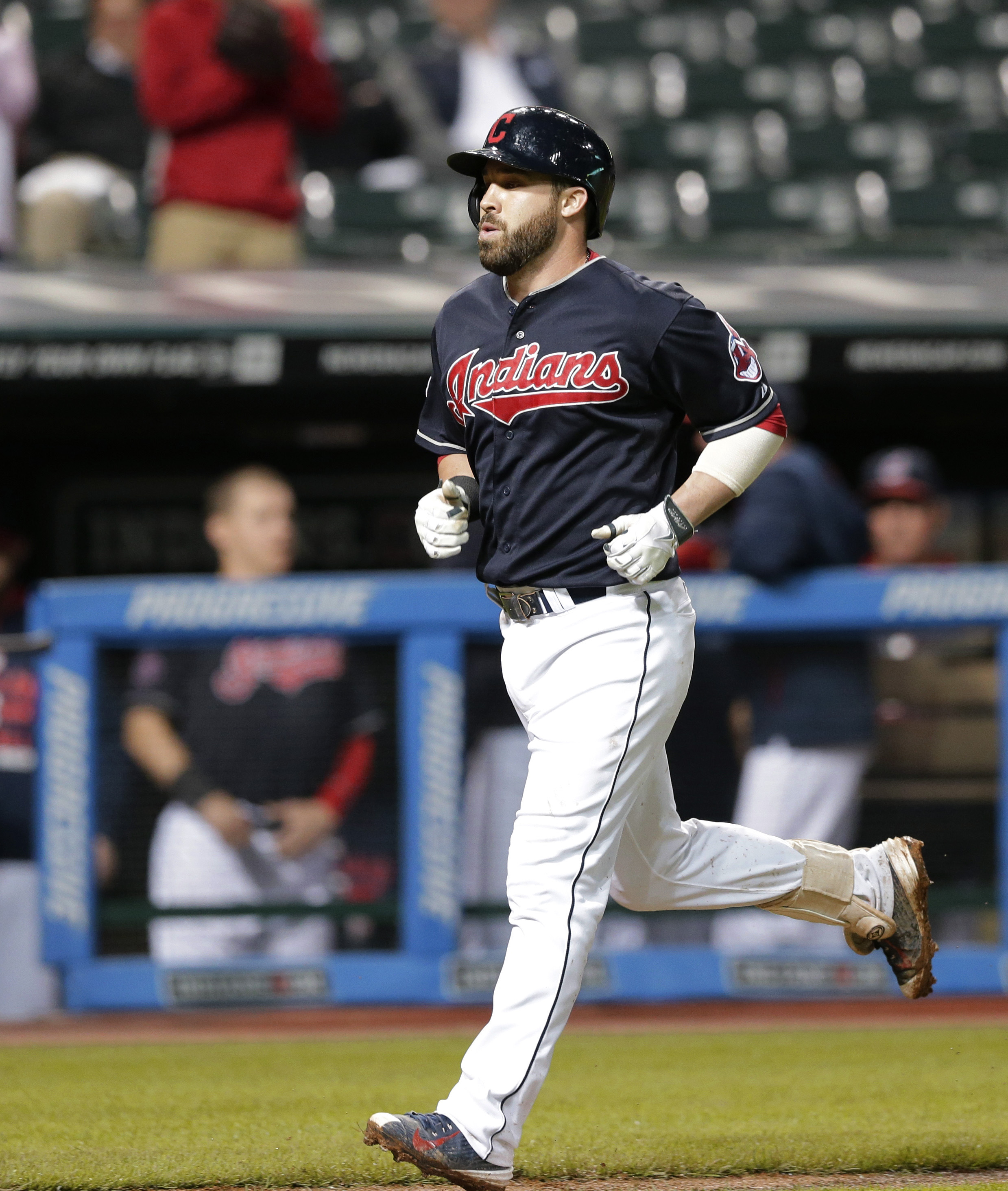Cleveland Indians' Jason Kipnis runs the bases after hitting a solo home run off Milwaukee Brewers relief pitcher Will Smith during the eighth inning of a baseball game, Wednesday, Aug. 26, 2015, in Cleveland. (AP Photo/Tony Dejak)