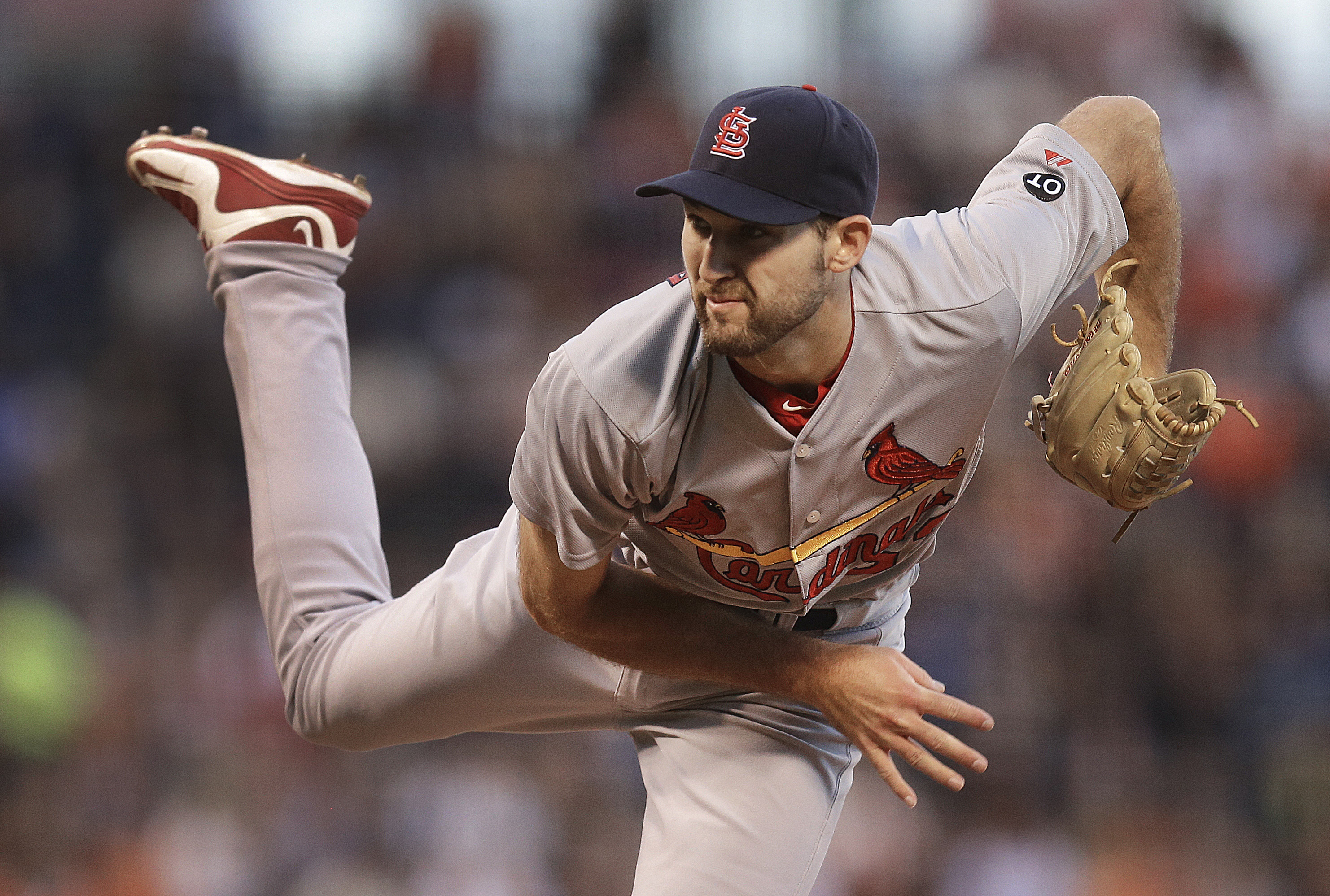 St. Louis Cardinals pitcher Michael Wacha watches a delivery to the San Francisco Giants during the first inning of a baseball game Friday, Aug. 28, 2015, in San Francisco. (AP Photo/Ben Margot)