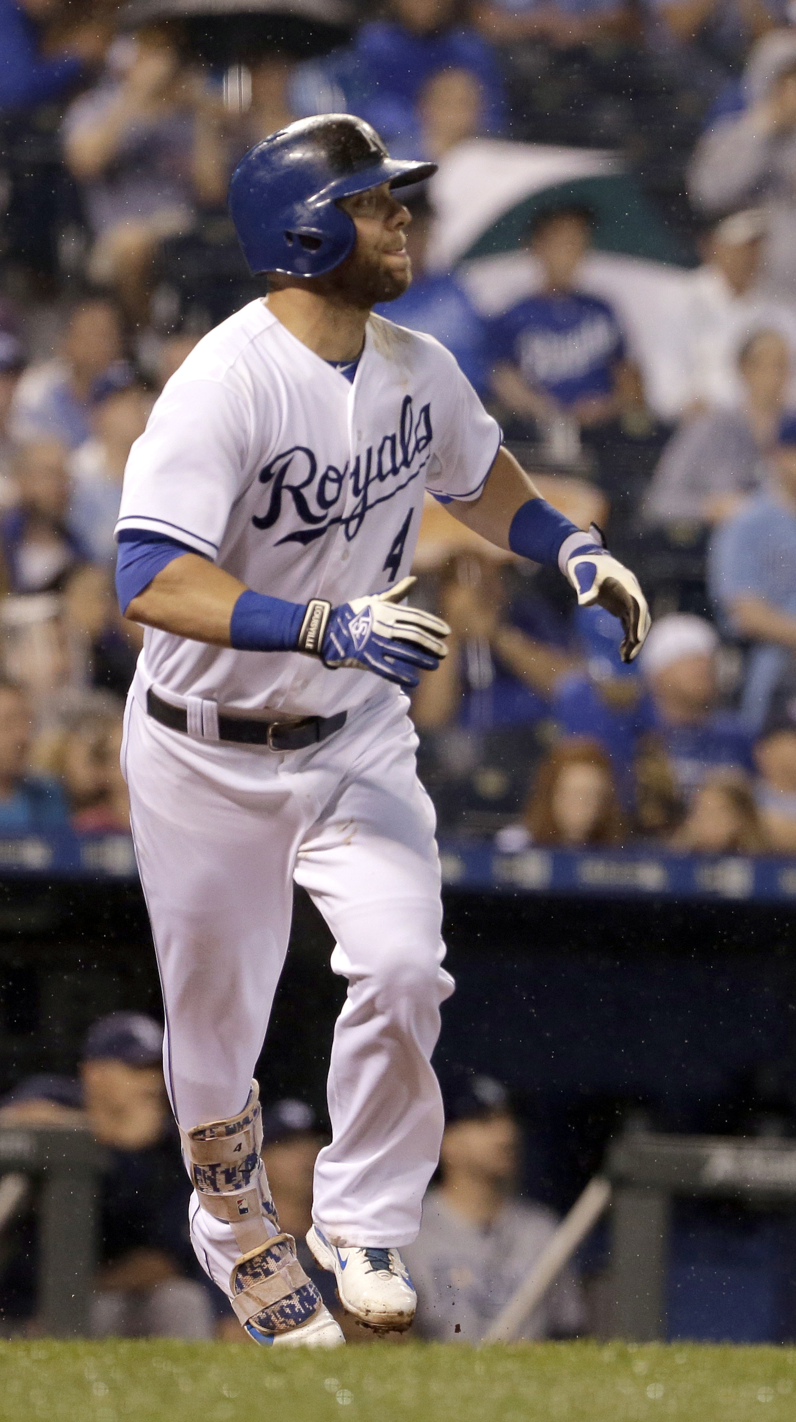 Kansas City Royals' Alex Gordon watches his hit during the fifth inning of the second game in a baseball doubleheader against the Tampa Bay Rays Tuesday, July 7, 2015, in Kansas City, Mo. (AP Photo/Charlie Riedel)