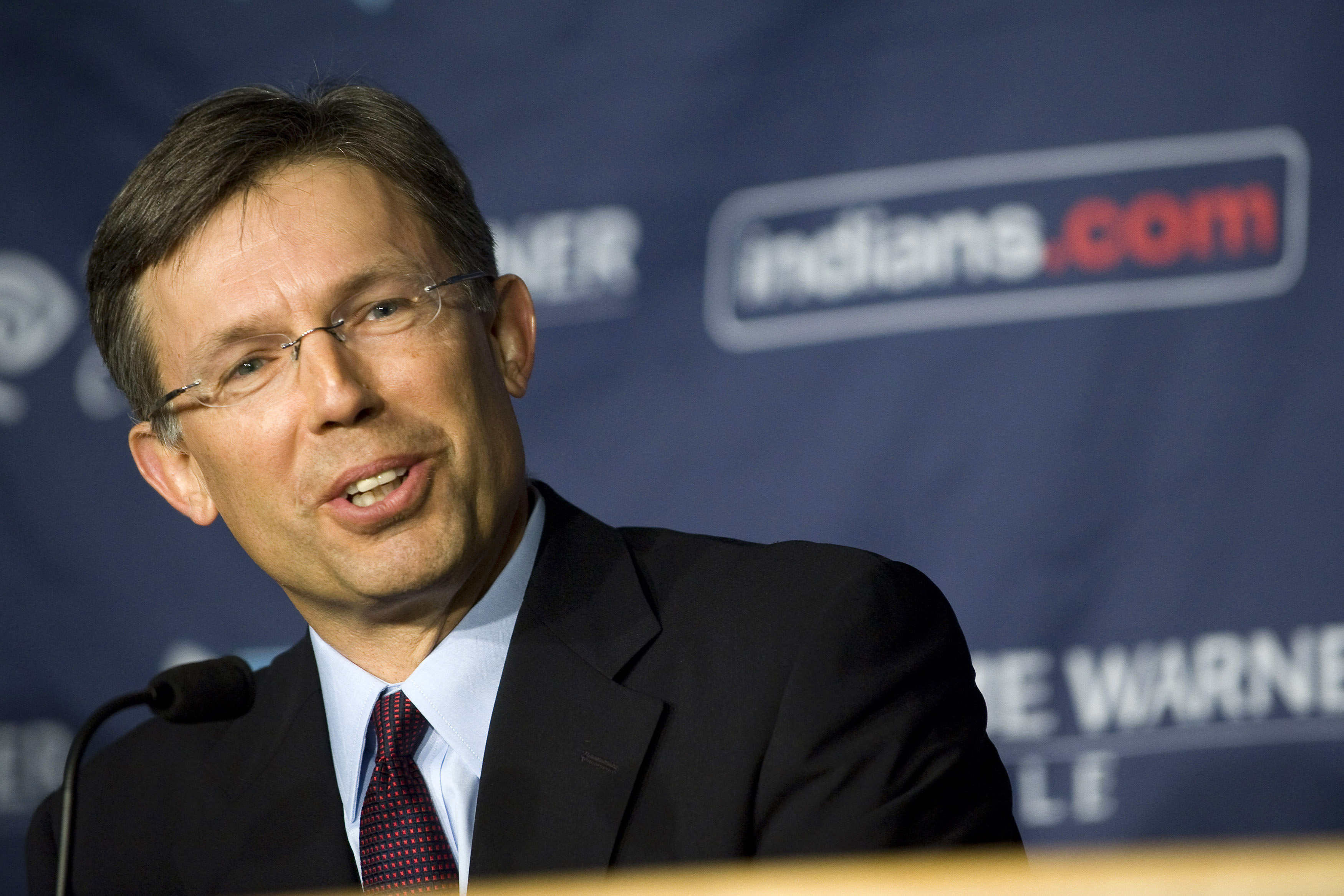 FILE - In this Feb. 18, 2010, file photo, Cleveland Indians' Paul Dolan speaks during a news conference at Progressive Field in Cleveland, Ohio. Indians owner Dolan hired an investment broker several months ago to help him find a minority investor for his