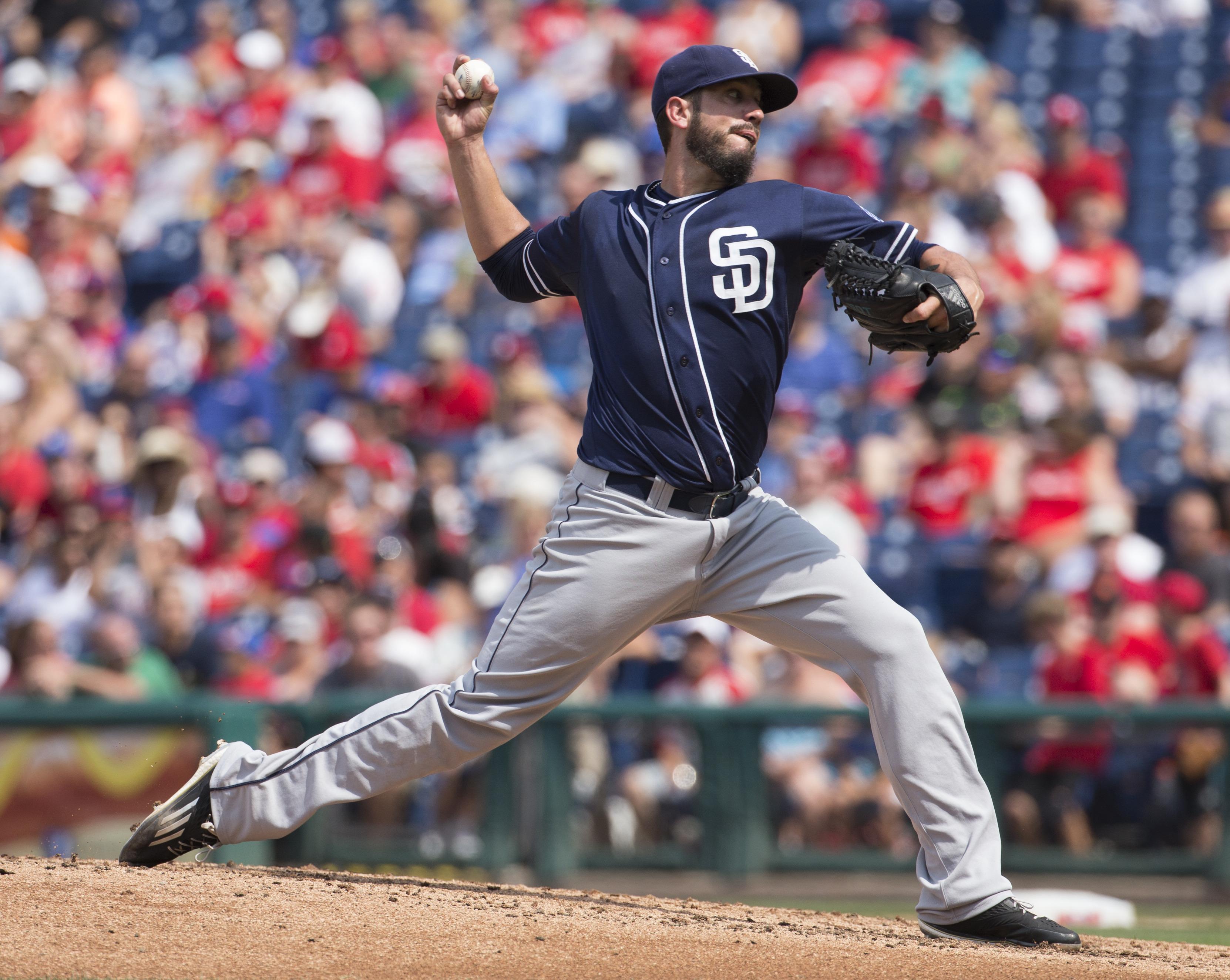 San Diego Padres starting pitcher James Shields throws during the third inning of a baseball game against the Philadelphia Phillies, Sunday, Aug. 30, 2015, in Philadelphia. (AP Photo/Chris Szagola)