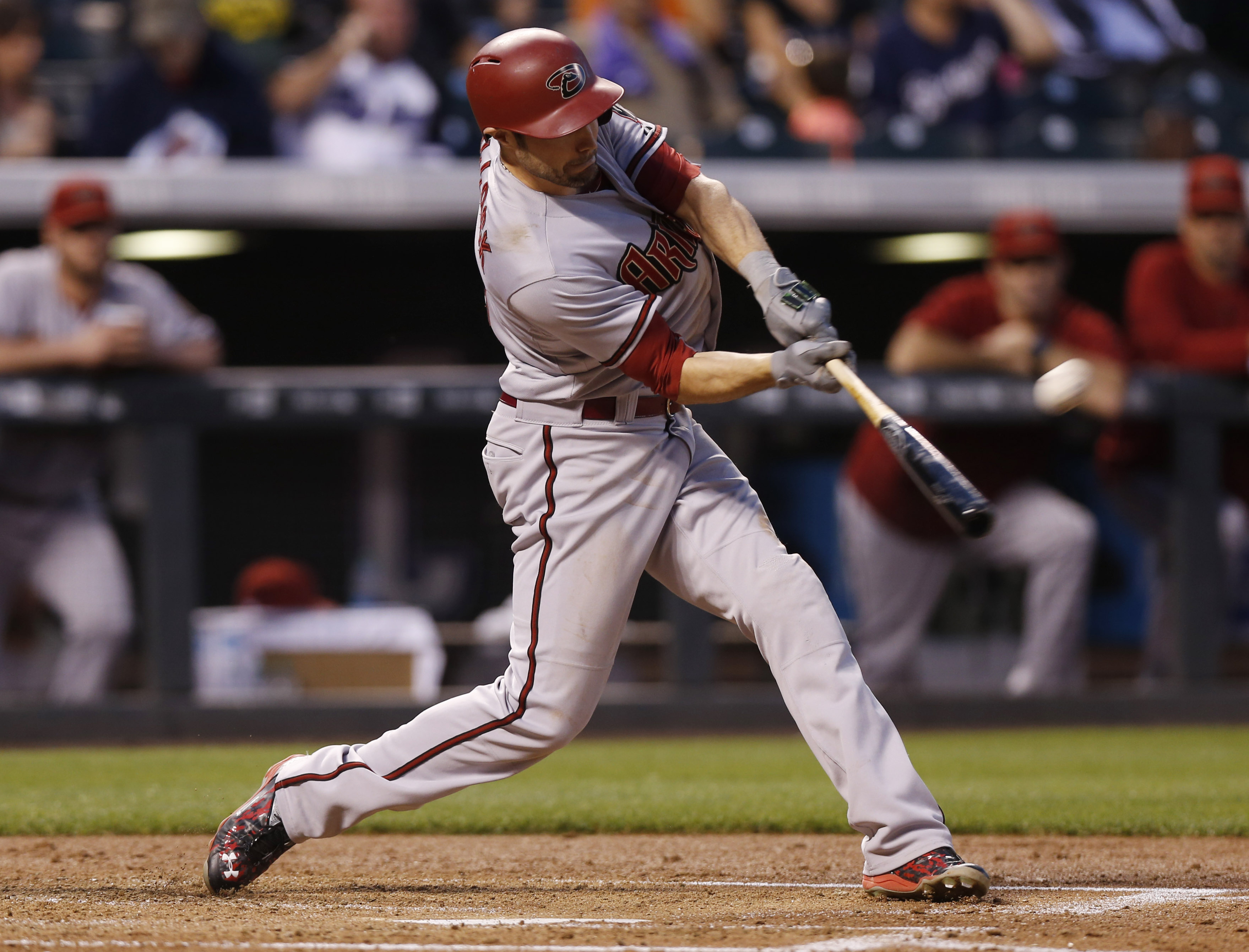 Arizona Diamondbacks' A.J. Pollock connects for a two-run home run off Colorado Rockies starting pitcher Chad Bettis in the third inning of a baseball game Monday, Aug. 31, 2015, in Denver. (AP Photo/David Zalubowski)