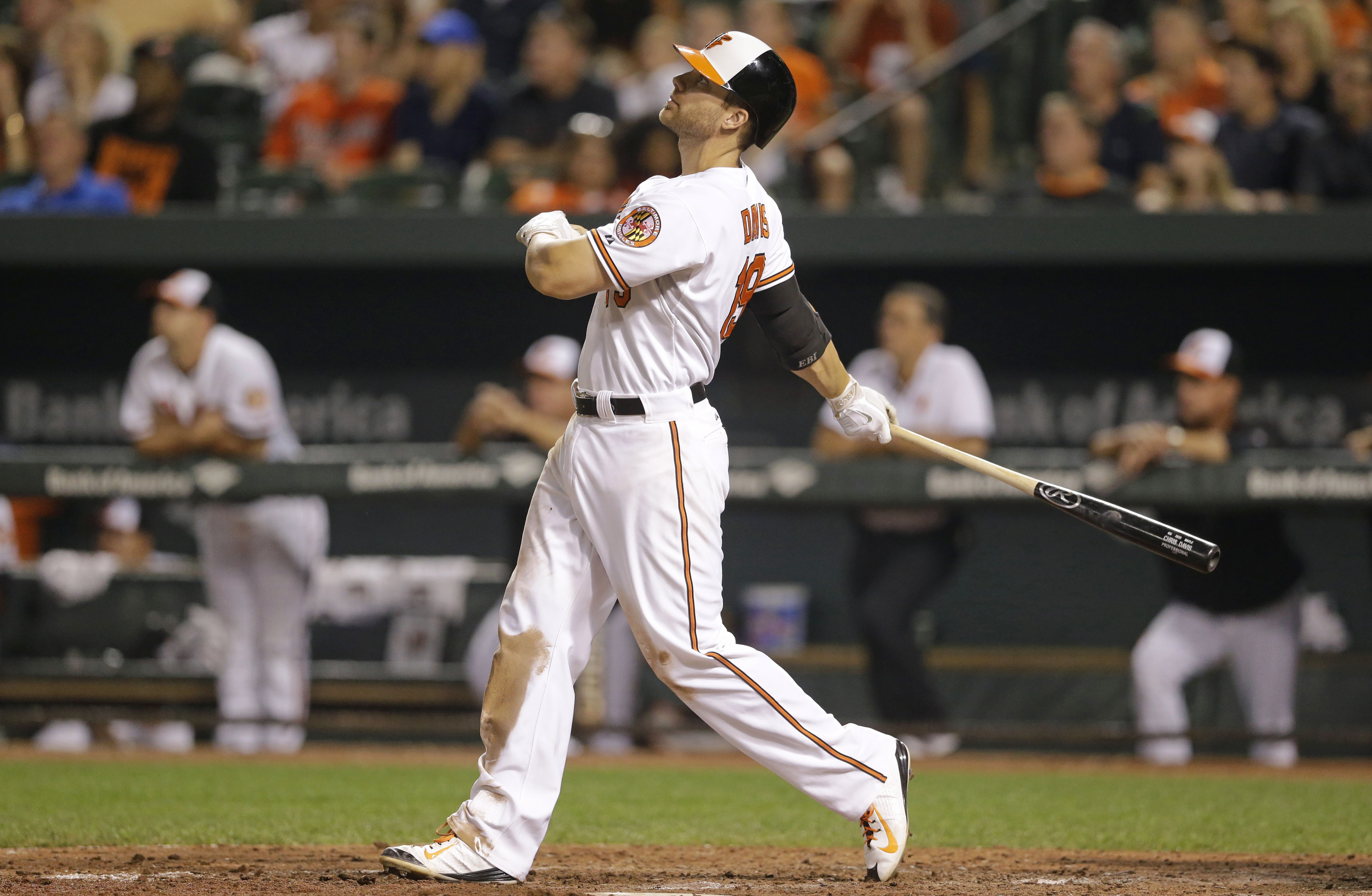 Baltimore Orioles' Chris Davis watches his solo home run during the 11th inning of a baseball game against the Tampa Bay Rays, Wednesday, Sept. 2, 2015, in Baltimore. Baltimore won 7-6. (AP Photo/Patrick Semansky)