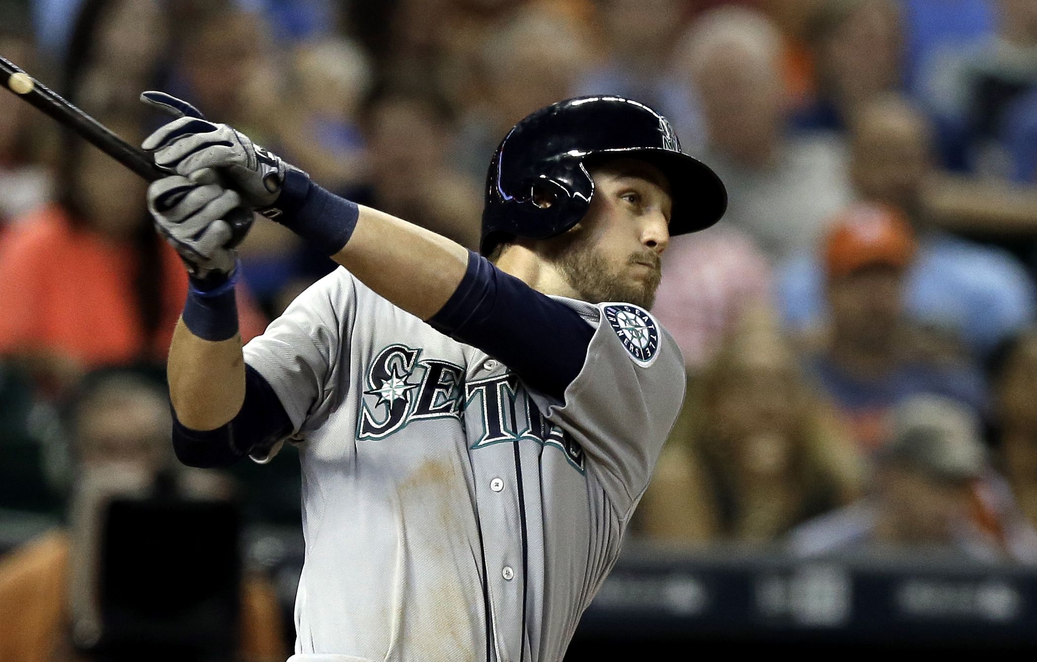 Seattle Mariners Sean O'Malley watches his RBI single against the Houston Astros during the eighth inning of a baseball game Wednesday, Sept. 2, 2015, in Houston. (AP Photo/Pat Sullivan)