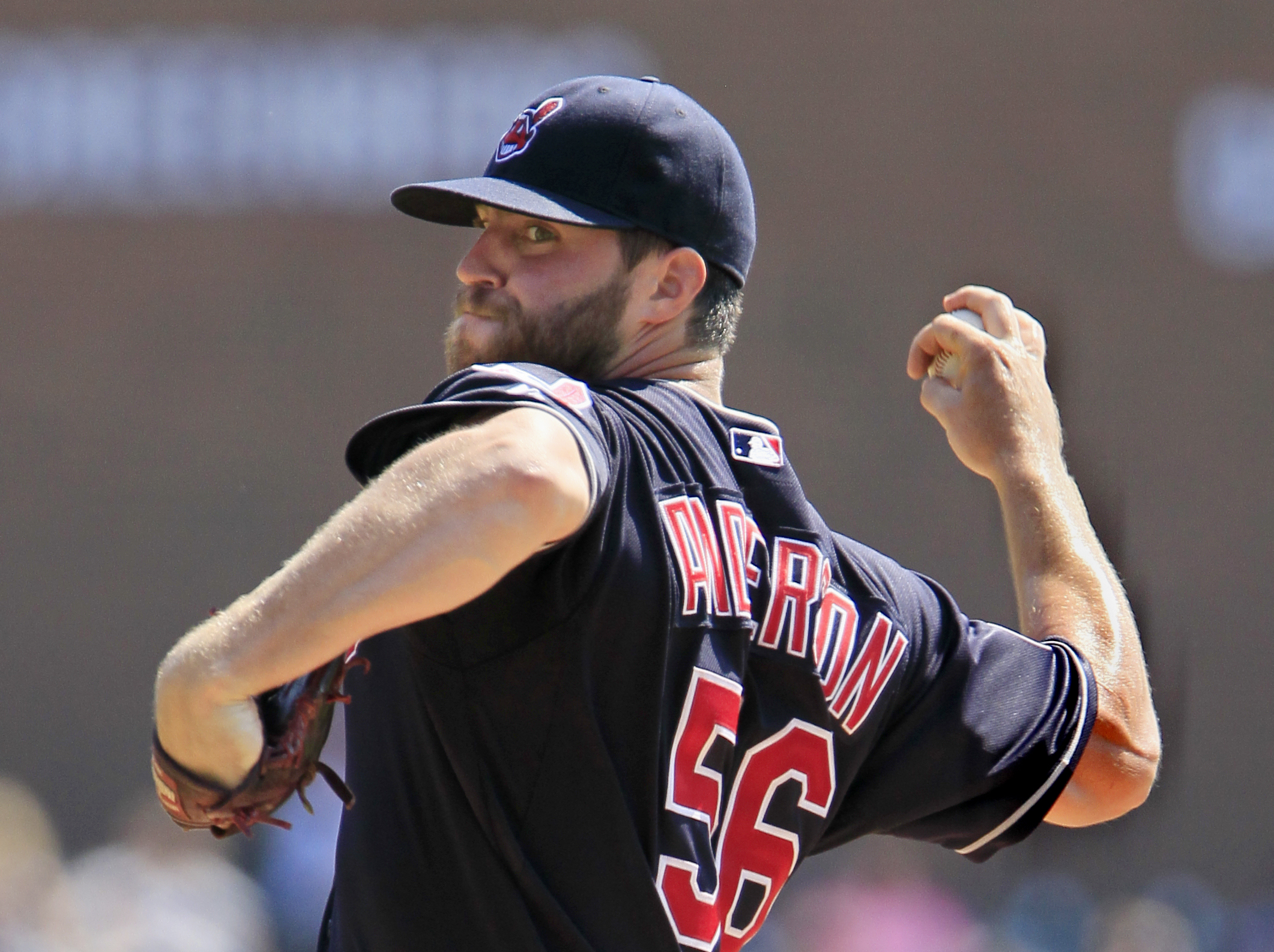 Cleveland Indians' Cody Anderson pitches against the Detroit Tigers during the first inning of a baseball game Sunday, Sept. 6, 2015, in Detroit. (AP Photo/Duane Burleson)