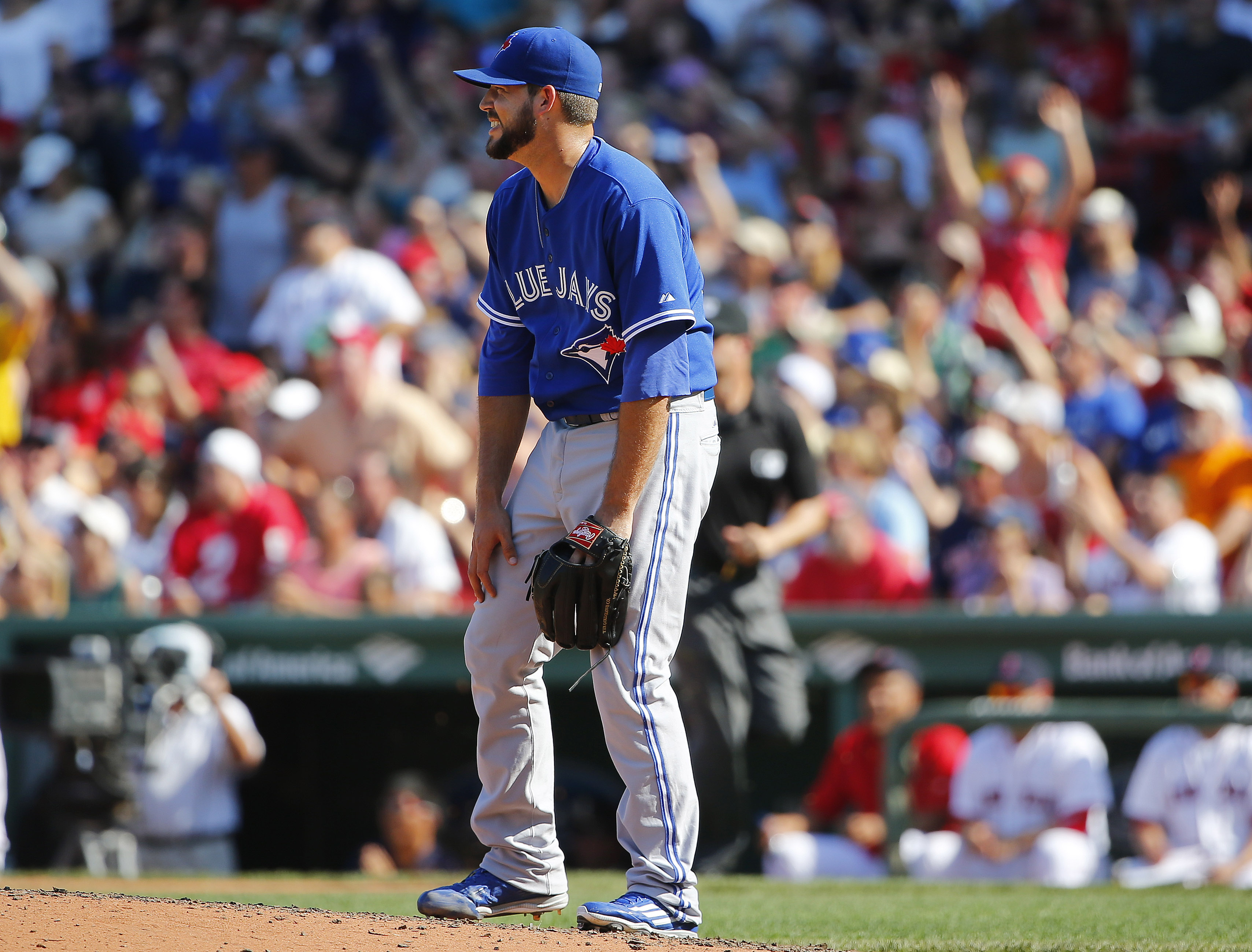 Toronto Blue Jays relief pitcher Ryan Tepera slumps on the mound after giving up a two-run home run to Boston Red Sox's Jackie Bradley Jr. during the sixth inning of a baseball game at Fenway Park in Boston Monday, Sept. 7, 2015. (AP Photo/Winslow Townson