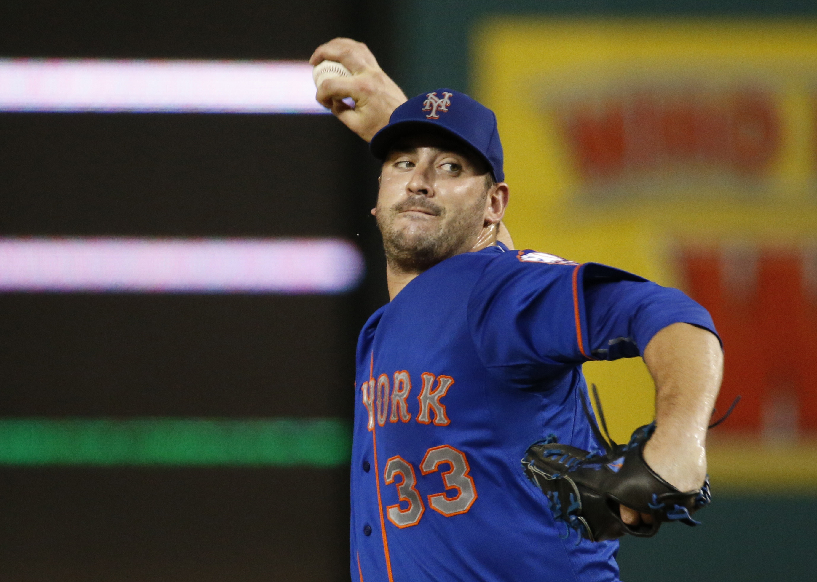 New York Mets starting pitcher Matt Harvey throws during the second inning of a baseball game against the Washington Nationals at Nationals Park, Tuesday, Sept. 8, 2015, in Washington. (AP Photo/Alex Brandon)