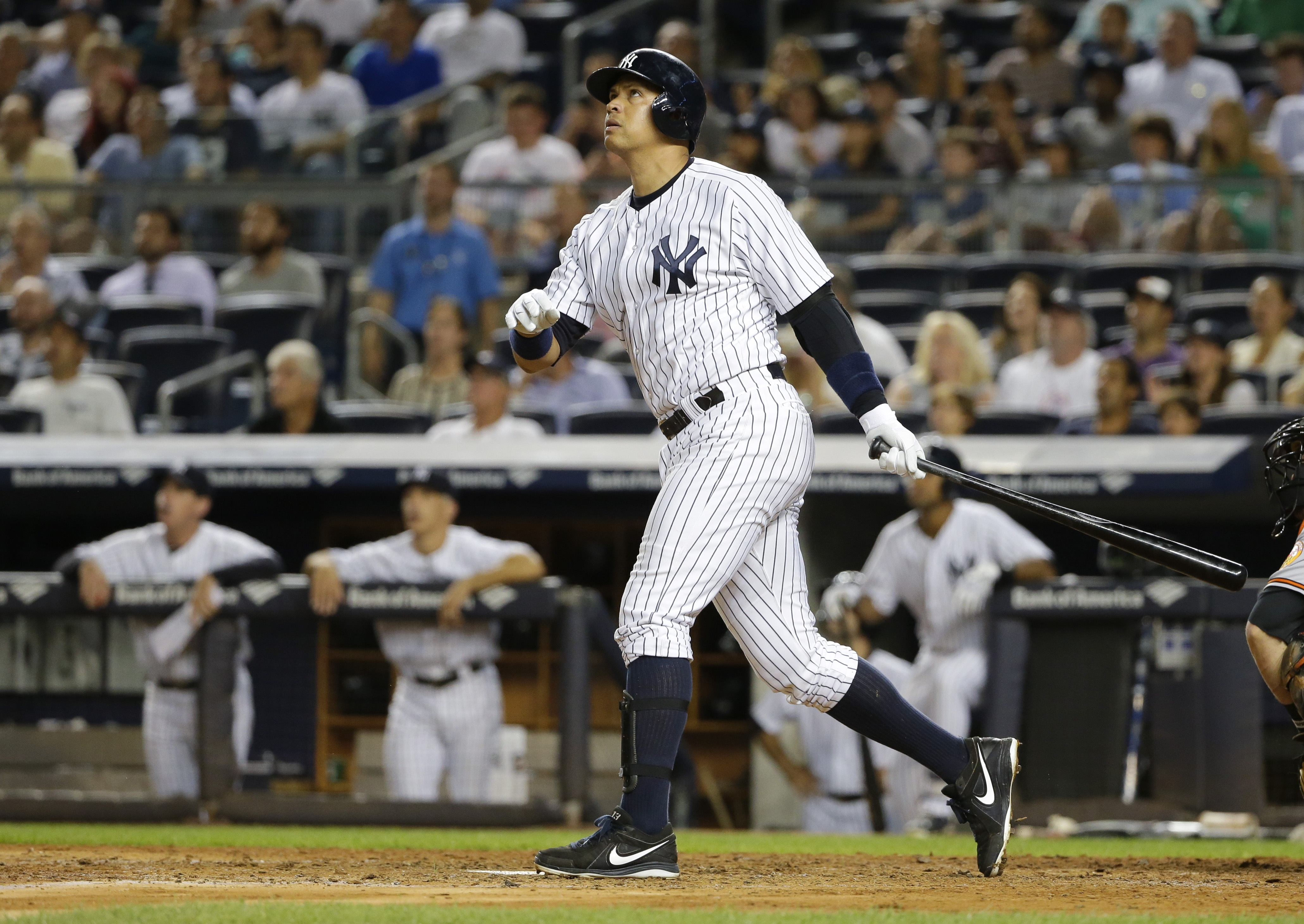 New York Yankees' Alex Rodriguez watches his home run during the sixth inning of a baseball game against the Baltimore Orioles on Tuesday, Sept. 8, 2015, in New York. (AP Photo/Frank Franklin II)