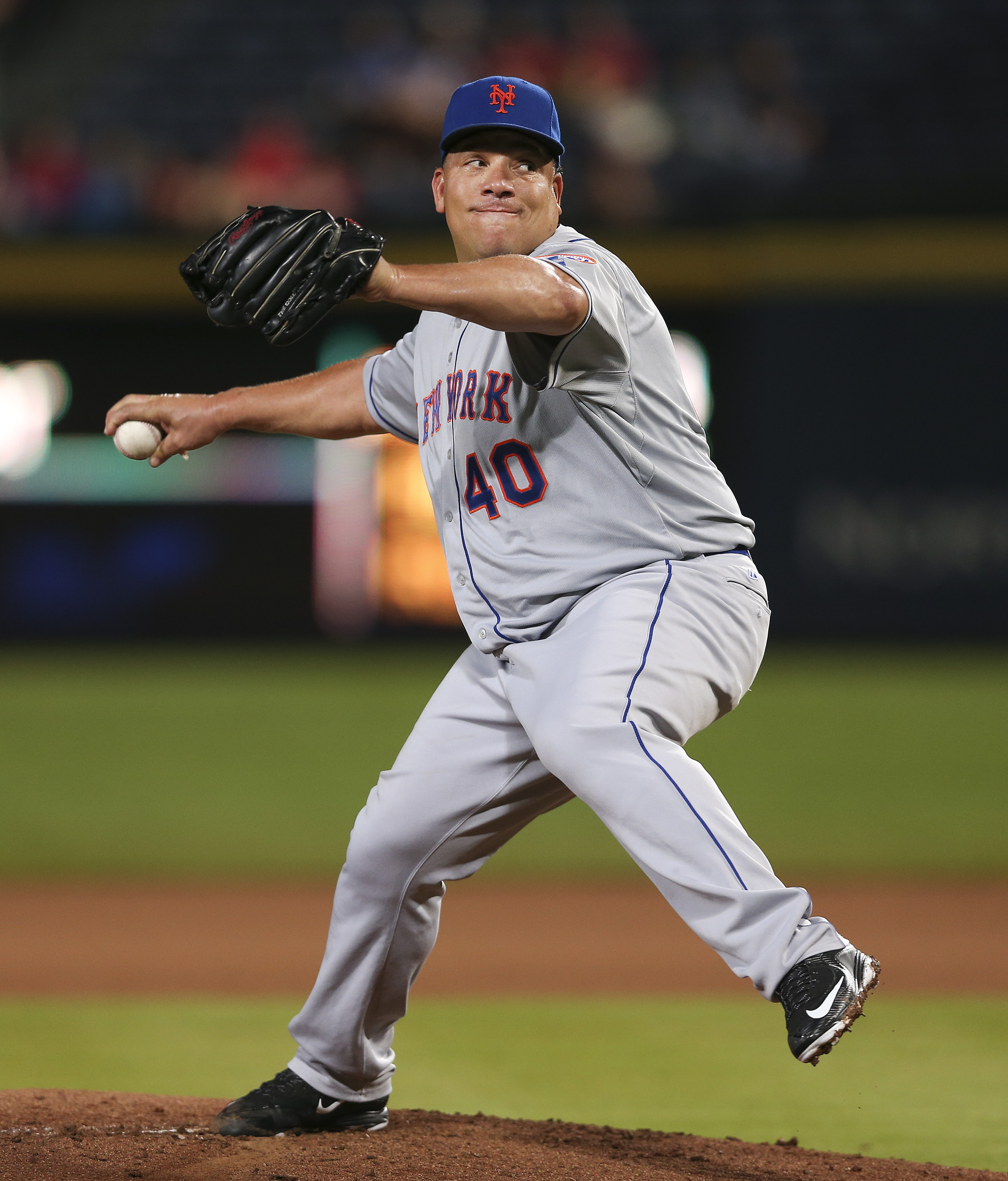 New York Mets starting pitcher Bartolo Colon (40) works in the first inning of a baseball game against the Atlanta Braves, Thursday, Sept. 10, 2015, in Atlanta. (AP Photo/John Bazemore)