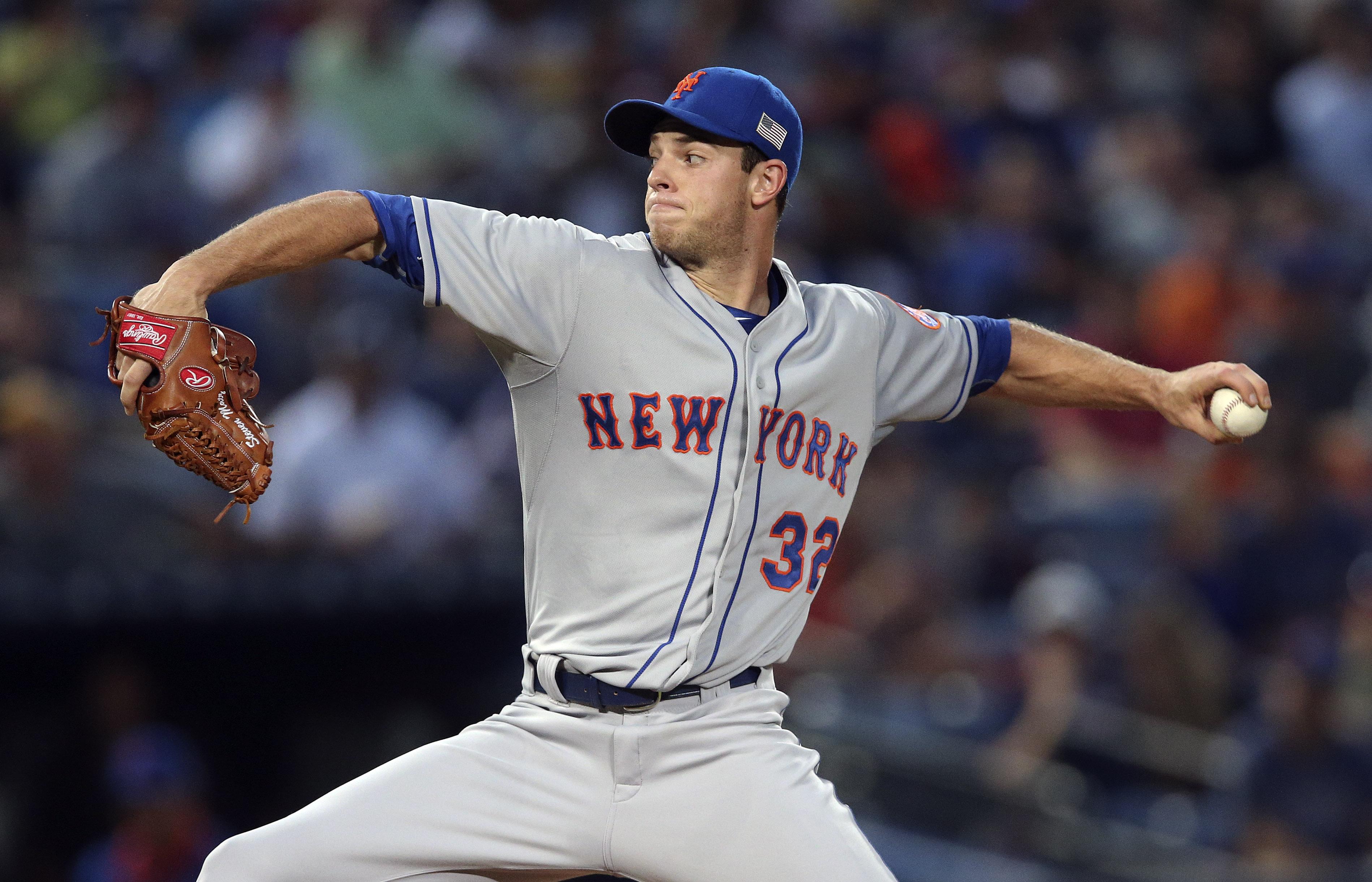 New York Mets starting pitcher Steven Matz (32) works during the first inning of a baseball game against the Atlanta Braves on Friday, Sept. 11, 2015, in Atlanta. (AP Photo/John Bazemore)