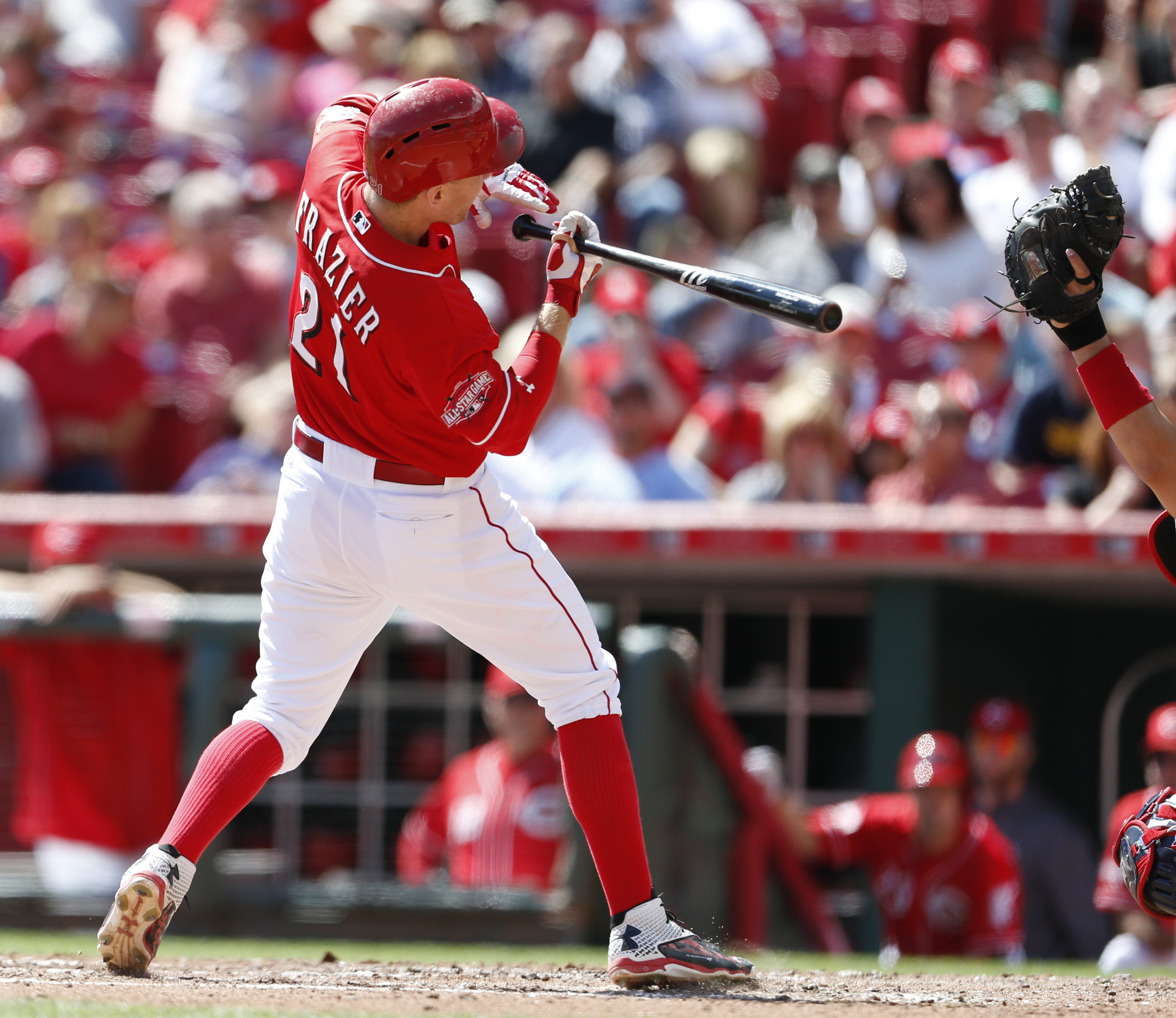 Cincinnati Reds' Todd Frazier (21) ducks away from a high inside pitch, thrown by St. Louis Cardinals starting pitcher Michael Wacha, during the fourth inning of a baseball game, Sunday, Sept. 13, 2015, in Cincinnati. (AP Photo/Gary Landers)