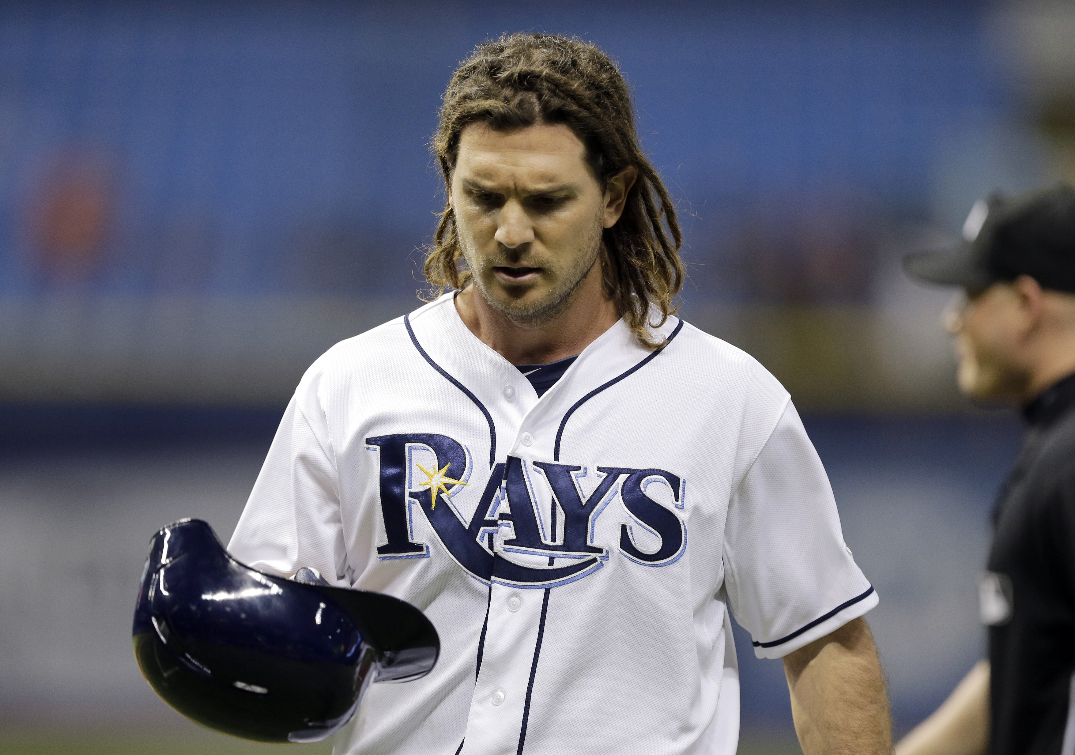 Tampa Bay Rays' John Jaso reacts after making the last out against Baltimore Orioles relief pitcher Darren O'Day during a baseball game Thursday, Sept. 17, 2015, in St. Petersburg, Fla.  The Orioles won 4-3. (AP Photo/Chris O'Meara)