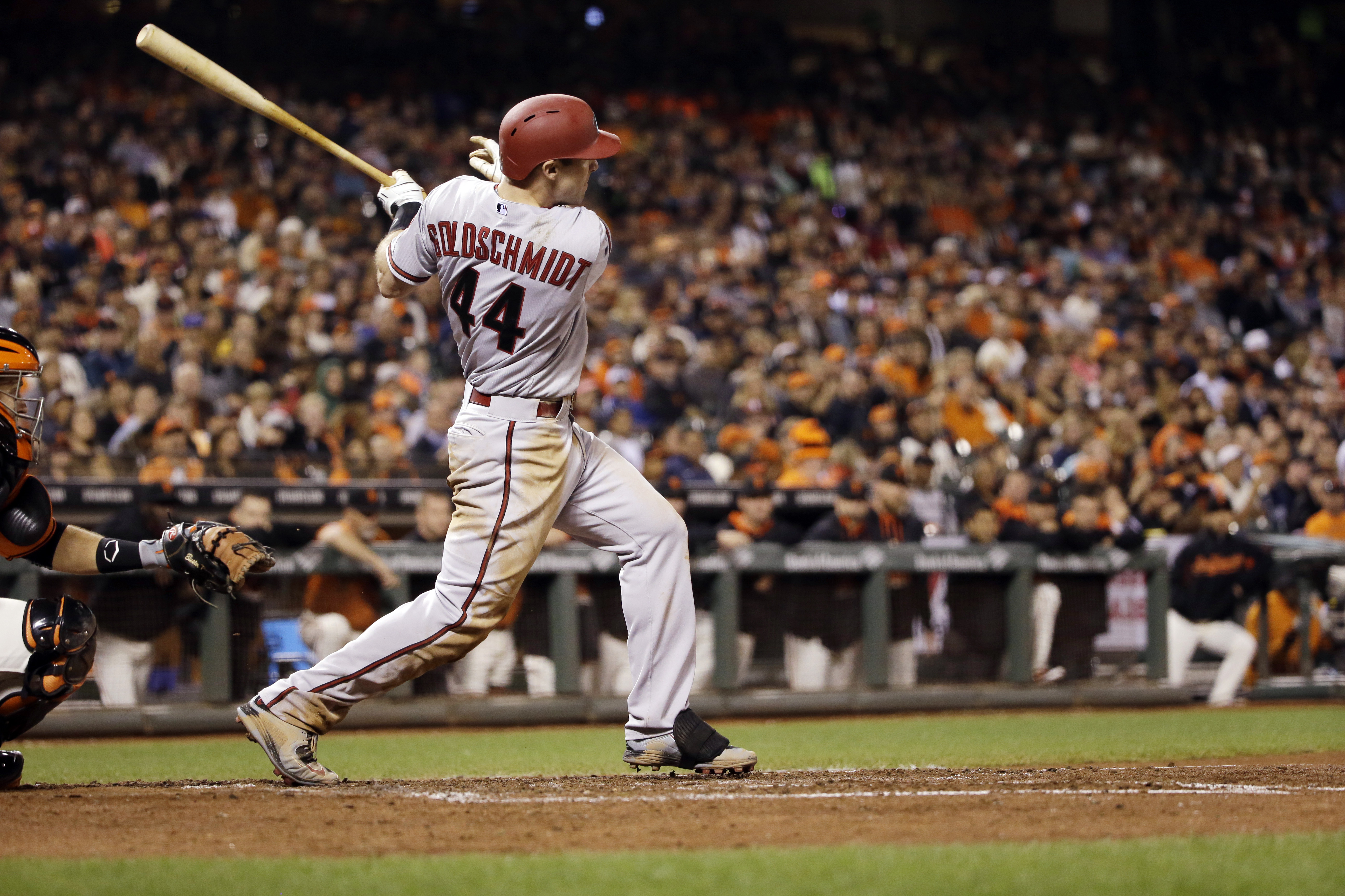 Arizona Diamondbacks' Paul Goldschmidt drives in a run with a double against the San Francisco Giants during the sixth inning of a baseball game on Friday, Sept. 18, 2015, in San Francisco. (AP Photo/Marcio Jose Sanchez)