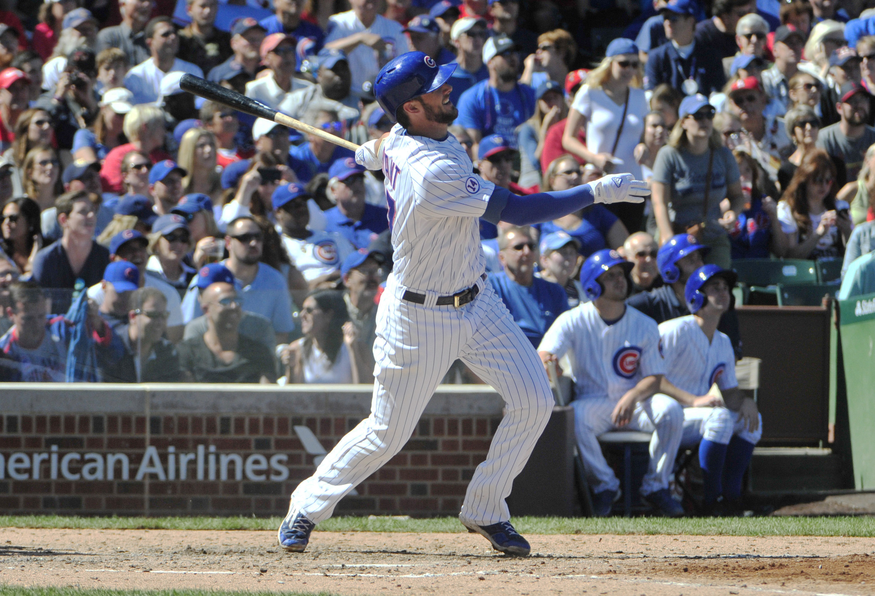 Chicago Cubs' Kris Bryant (17) watches his home run against the St. Louis Cardinals during the fifth inning of a baseball game, Saturday, Sept. 19, 2015, in Chicago. (AP Photo/David Banks)