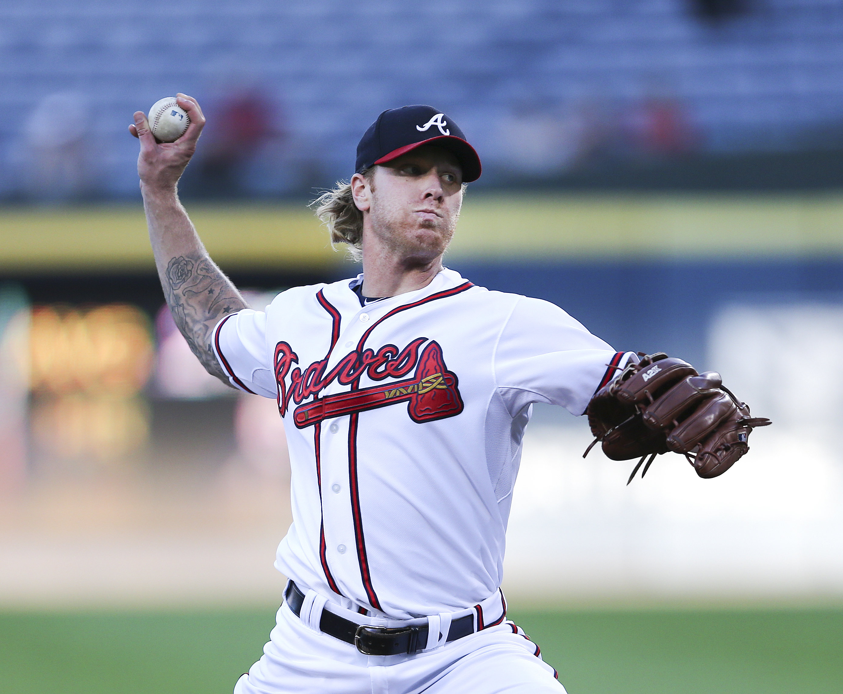 Atlanta Braves starting pitcher Mike Foltynewicz (48) works inn the first  a baseball game the Colorado Rockies Tuesday, Aug. 25, 2015, in Atlanta. Colorado won 5-1. (AP Photo/John Bazemore)