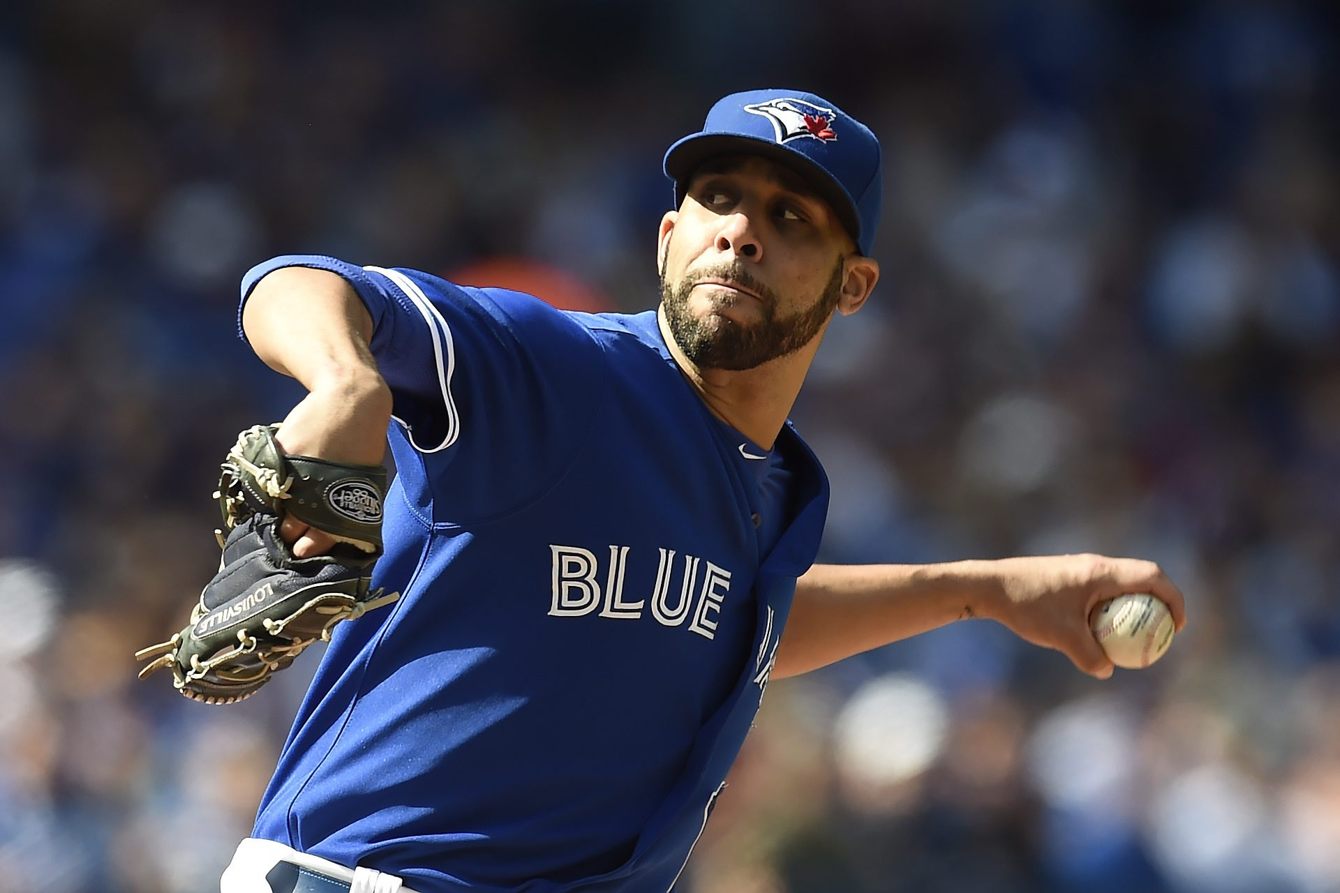 Toronto Blue Jays' starting pitcher David Price works against the Tampa Bay Rays during the third inning of a baseball game in Toronto, Saturday, Sept. 26, 2015. (Frank Gunn/The Canadian Press via AP) MANDATORY CREDIT