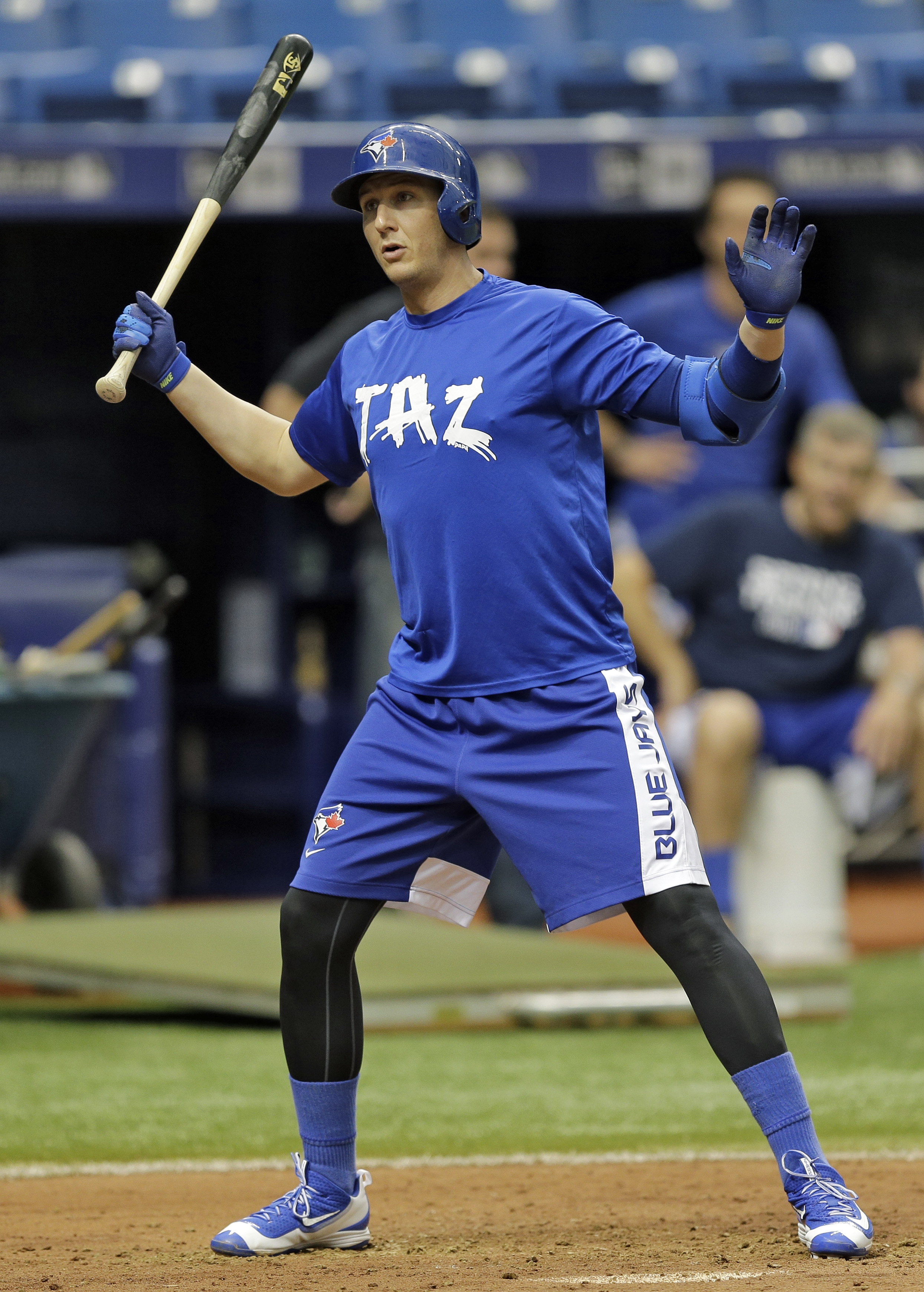 Toronto Blue Jays' Troy Tulowitzki backs away from an inside pitch from David Price during a simulated game before a baseball game between the Tampa Bay Rays and the Blue Jays Friday, Oct. 2, 2015, in St. Petersburg, Fla.  Tulowitzki, who hasn't played si