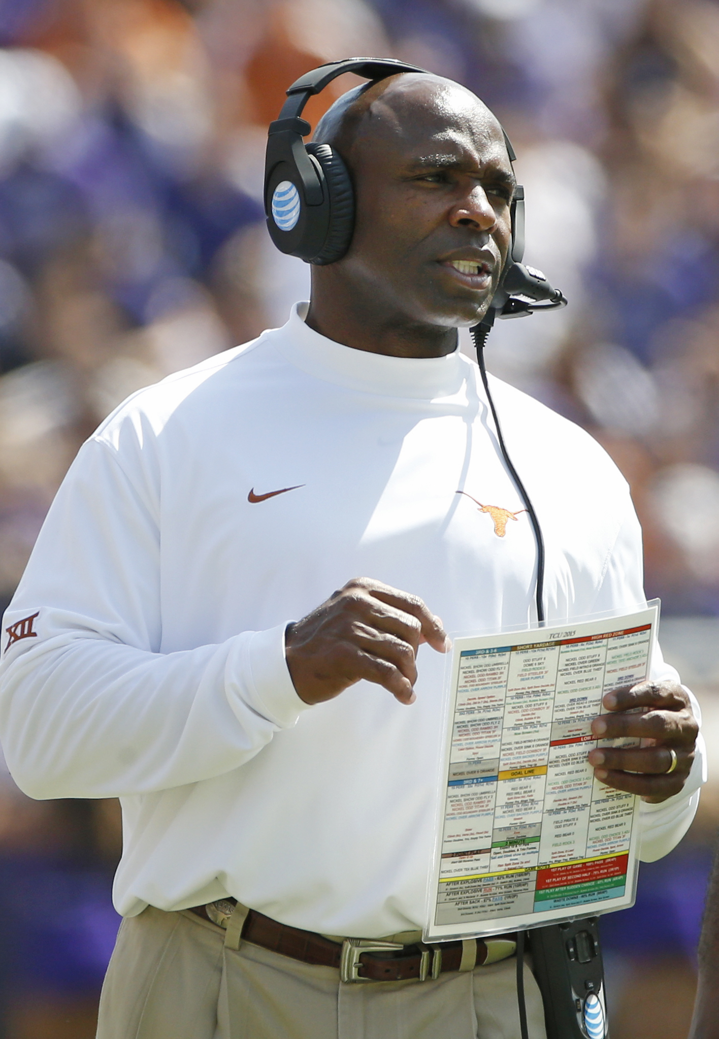 Texas head coach Charlie Strong watches from the sidelines during the second half of an NCAA college football game against TCU, Saturday, Oct. 3, 2015, in Fort Worth, Texas. (AP Photo/Ron Jenkins)