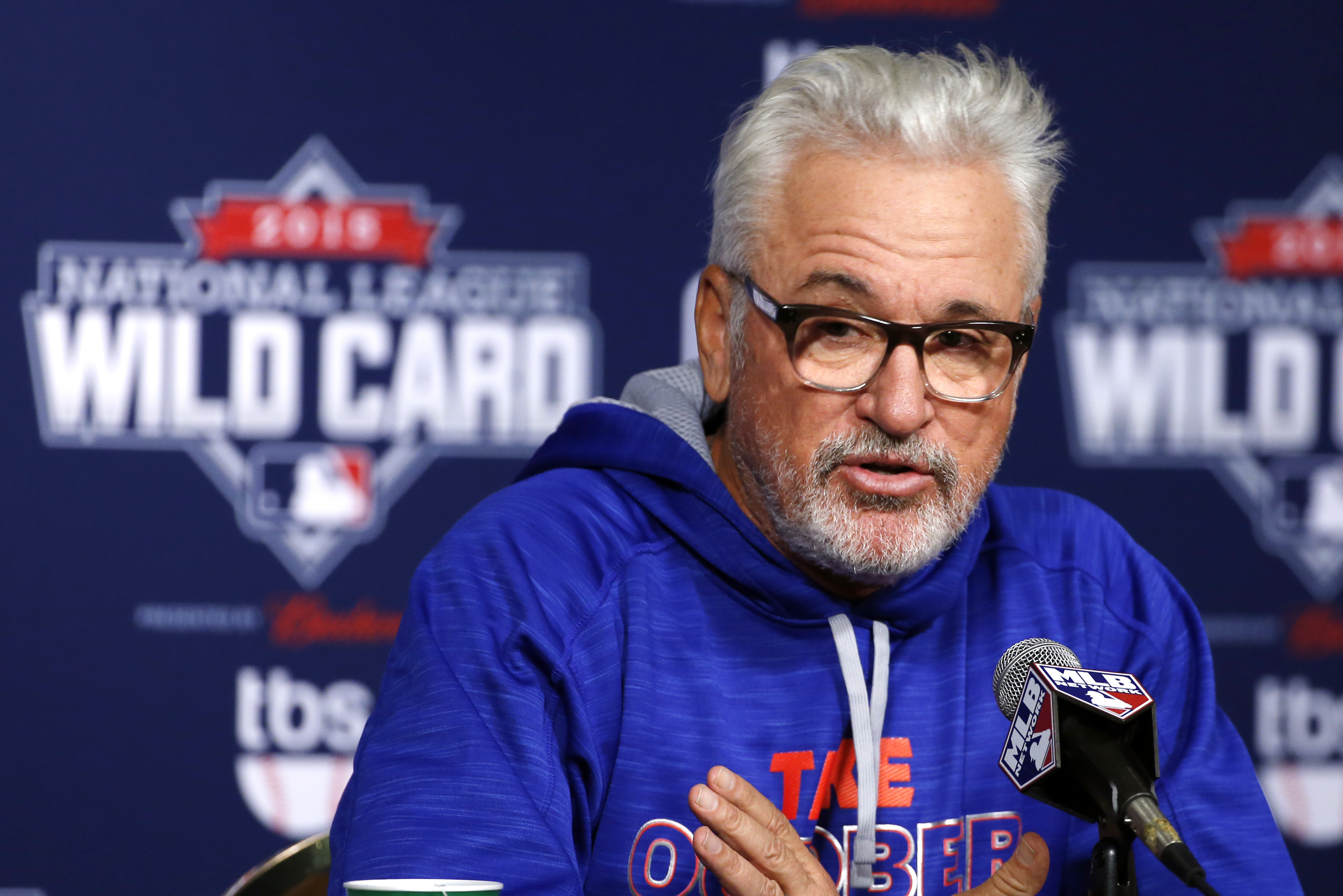 Chicago Cubs manager Joe Maddon answers a question during a press conference on workout day, Tuesday, Oct. 6, 2015, for Wednesday's National League Wild Card baseball game at PNC Park in Pittsburgh, Tuesday, Oct. 6, 2015. (AP Photo/Gene J. Puskar)