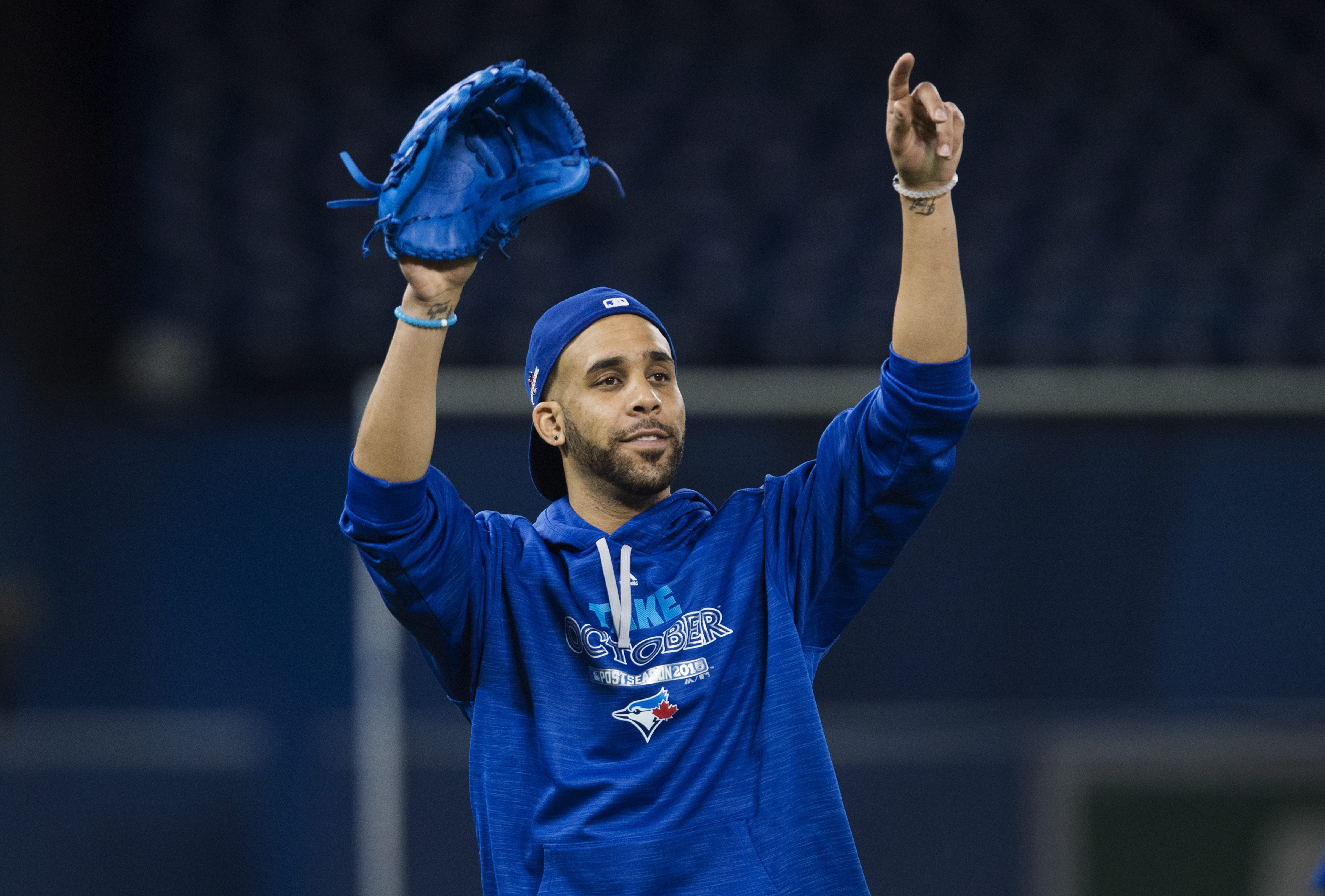 Toronto Blue Jays starting pitcher David Price gestures during a team workout at the Rogers Centre in Toronto on Wednesday, Oct. 7, 2015. The Blue Jays start the American League Divisional Series against the Texas Rangers in Toronto on Thursday. (Darren C