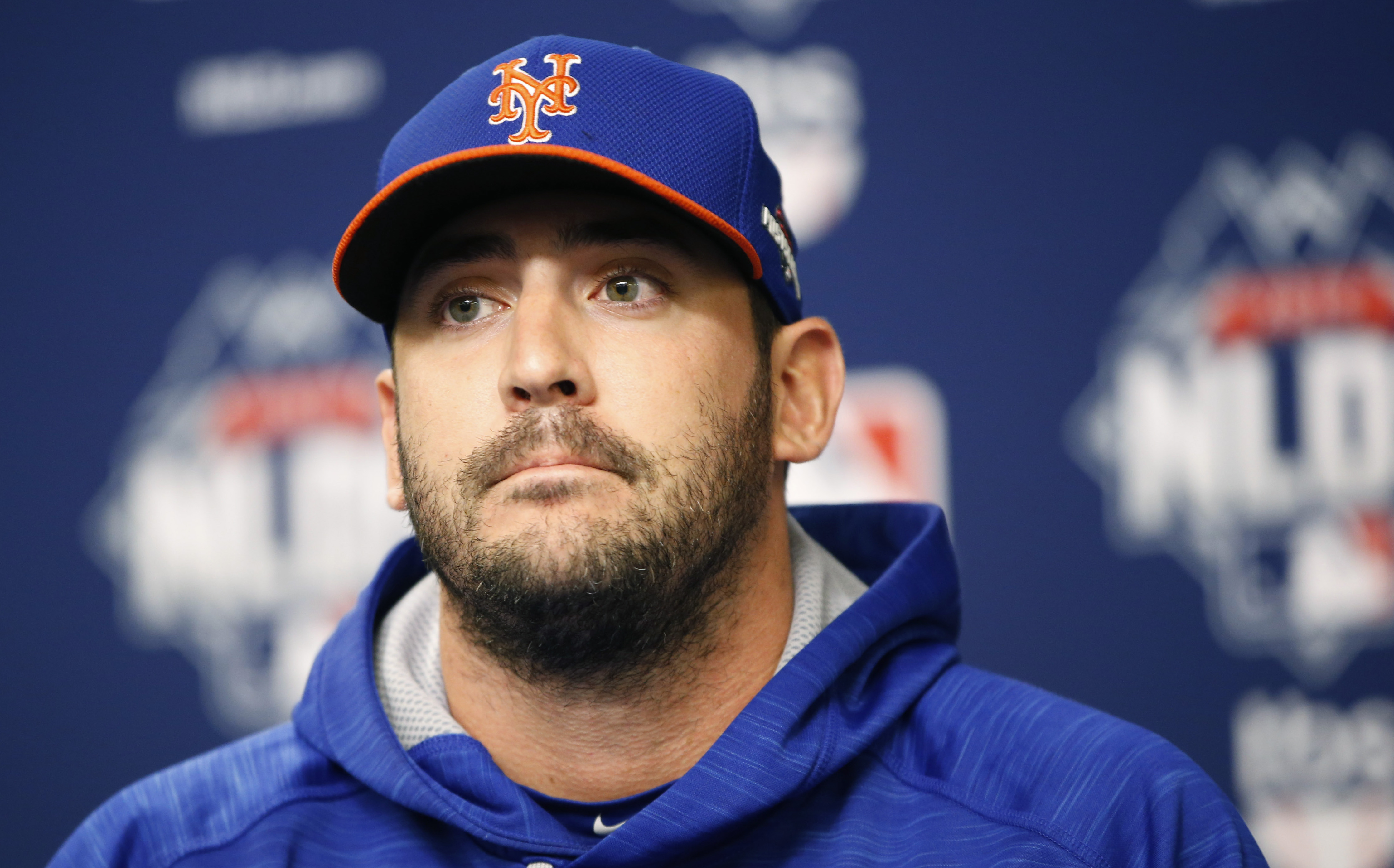 New York Mets Game 3 starter Matt Harvey appears during a National League Division Series baseball workout day, Sunday, Oct. 11, 2015, in preparation for Monday's Game 3 against the Los Angeles Dodgers at CitiField in New York. (AP Photo/Kathy Willens)