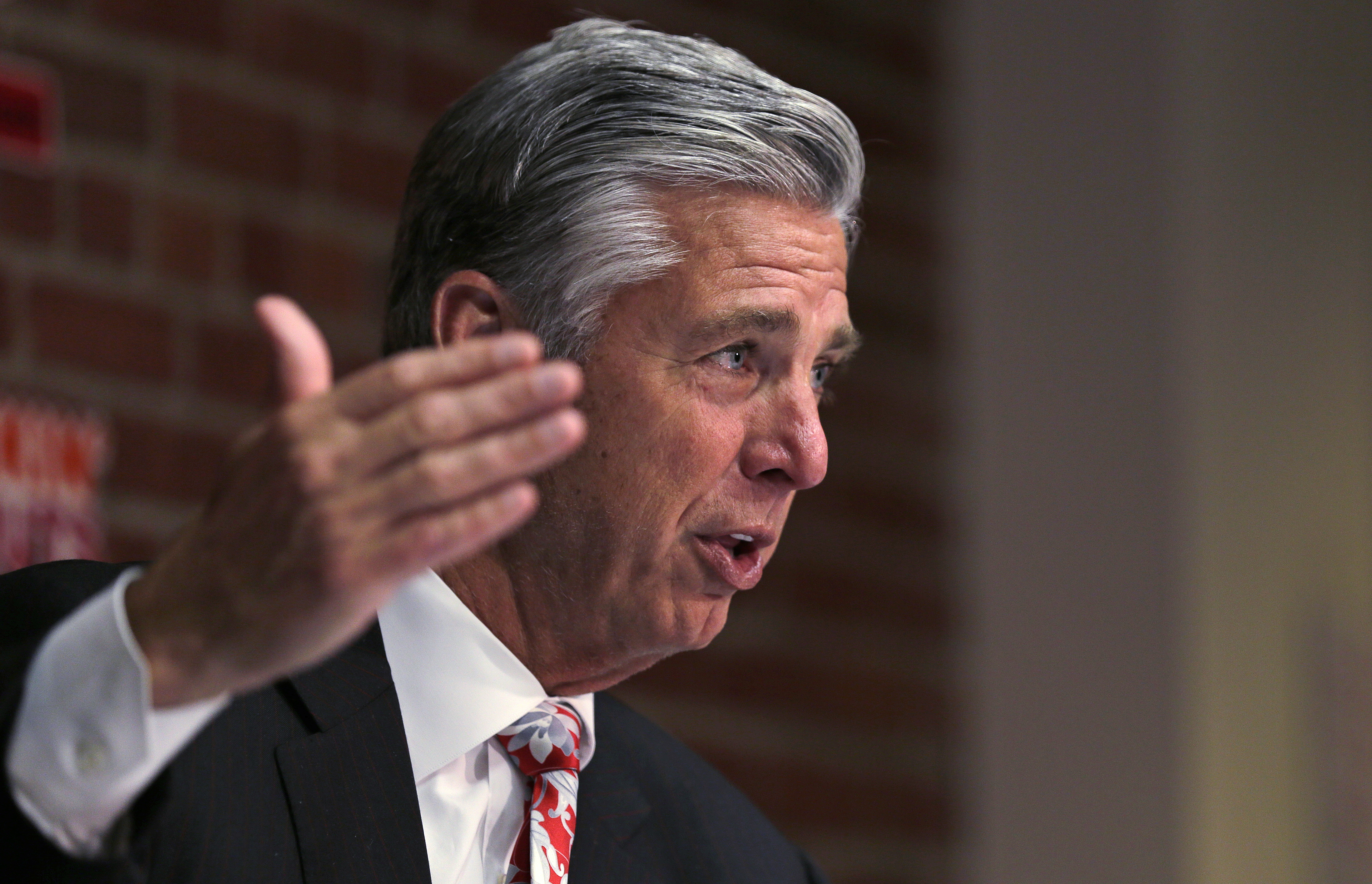 Boston Red Sox President of Baseball Operations Dave Dombrowski gestures as he talks with reporters during a baseball news conference at Fenway Park in Boston, Tuesday, Oct. 13, 2015. (AP Photo/Charles Krupa)